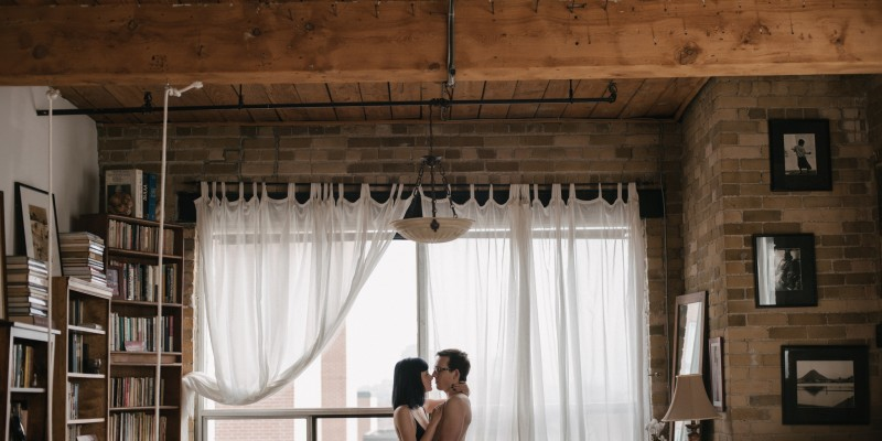 Intimate couples session in an old industrial loft by Toronto wedding photographer Daring Wanderer