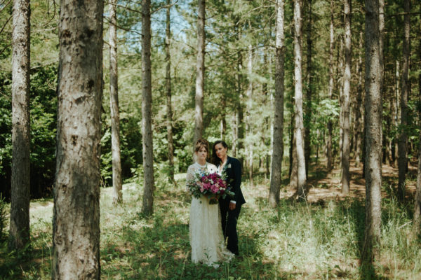 Dreamy Same sex forest wedding at Riverstone Retreat by Toronto wedding photographer Daring Wanderer // www.daringwanderer.com