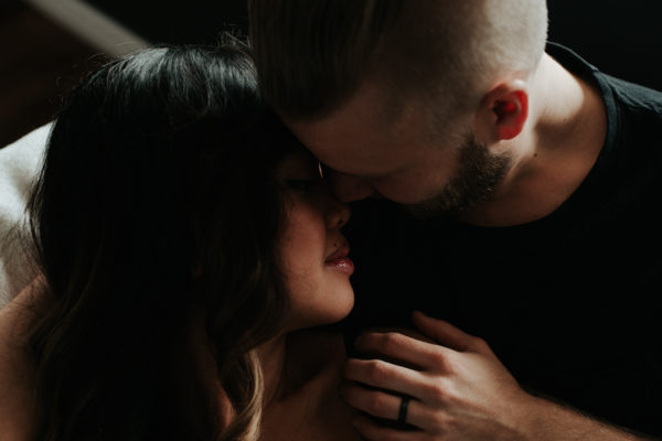 Intimate in-home couples maternity shoot by Toronto photographer Daring Wanderer