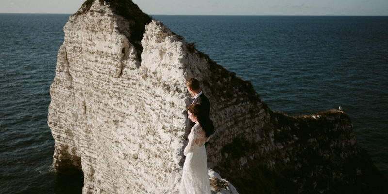 Etretat wedding portraits in Normandy