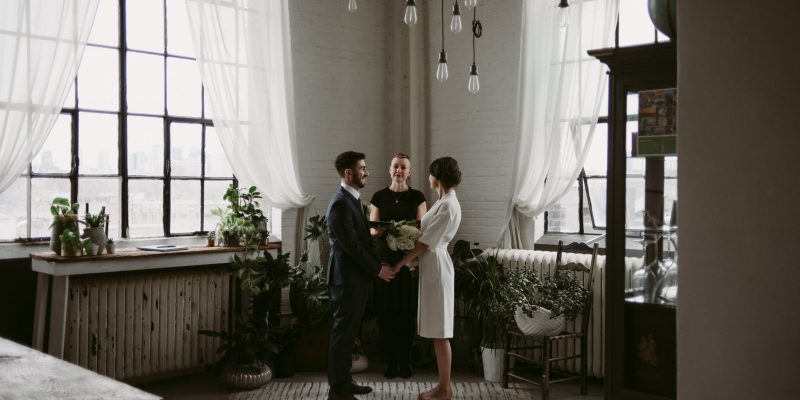 A trendy elopement in a Toronto loft