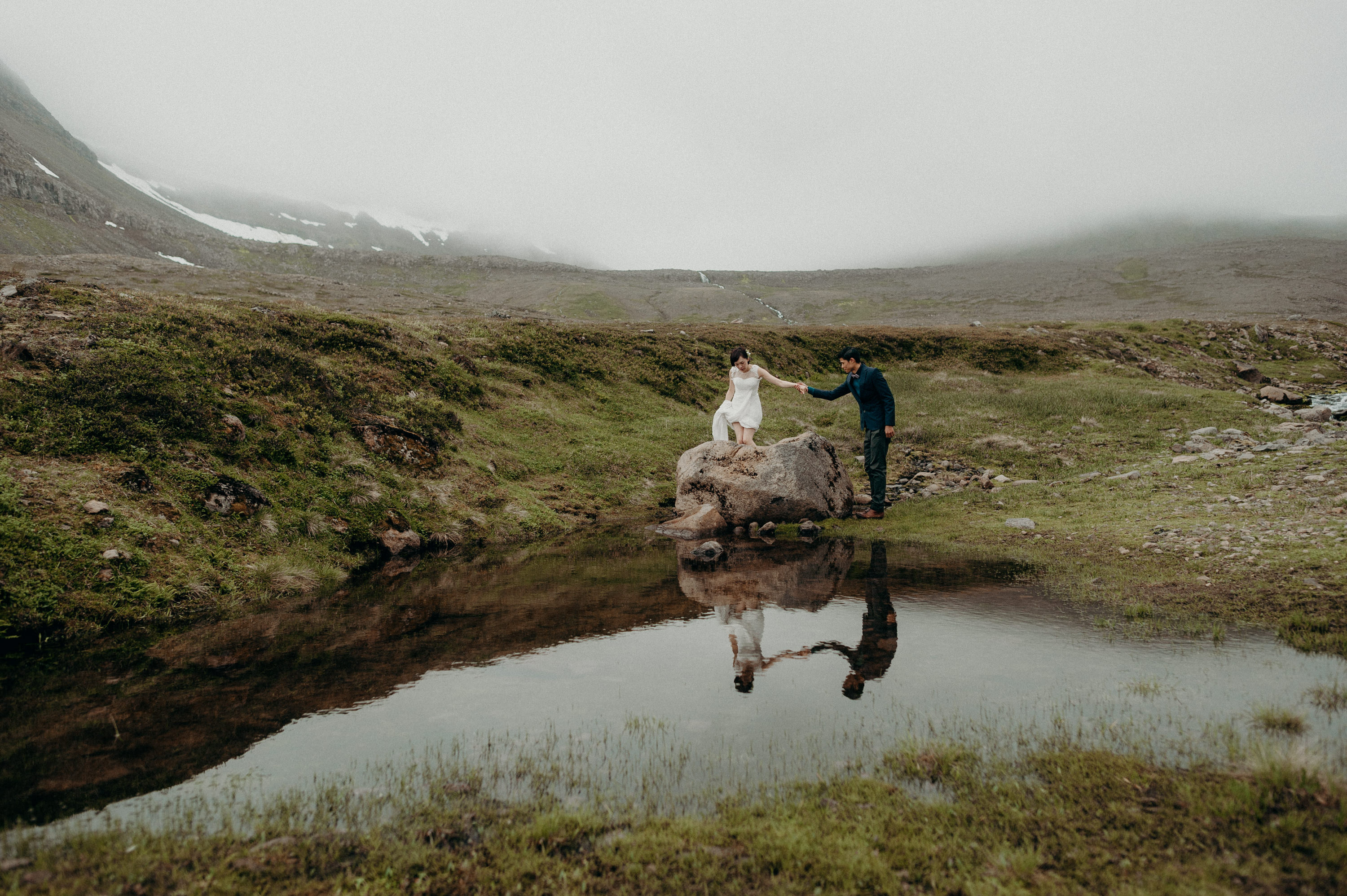 Adventurous couple eloping in Iceland