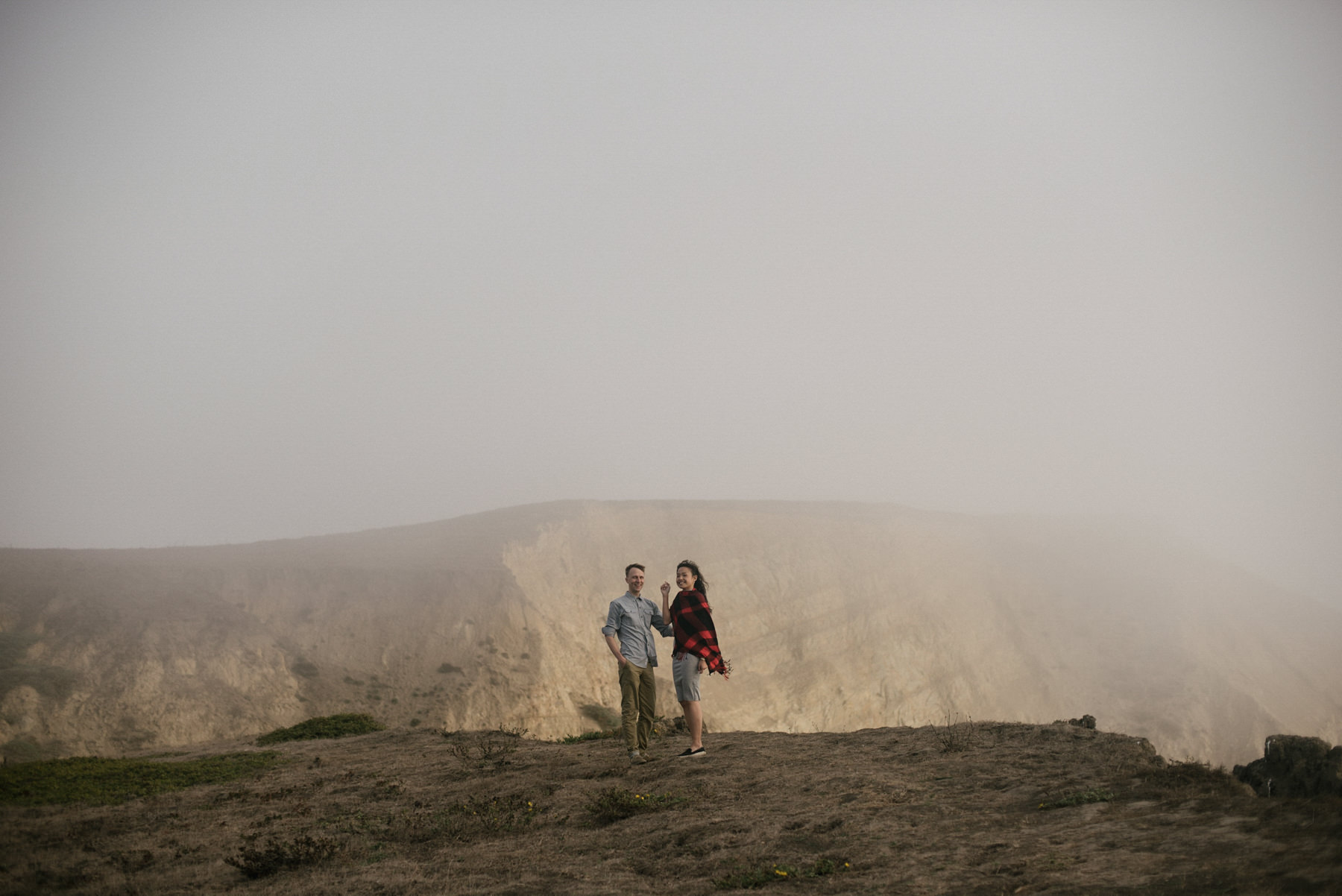 Daring Wanderer Photography - Daring Wanderer - Destination Wedding Photographer - Point Reyes California - Point Reyes Engagement - California wedding photographer - Engagement - Chimney Rock - Limantour Beach - foggy engagement