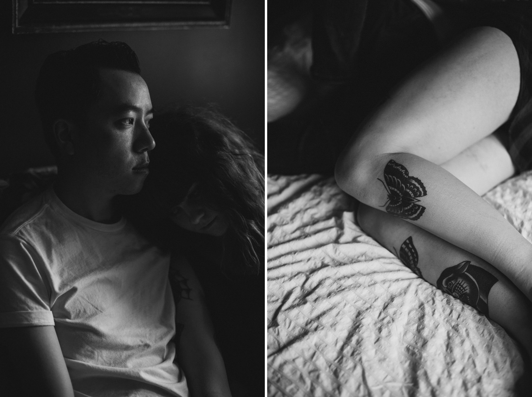 Daring Wanderer Photography - Daring Wanderer - Toronto portrait photographer - intimate - couples session - intimate couples session - bedroom shoot - love - lovers shoot - tattooed couple - tattoos - hipster couple