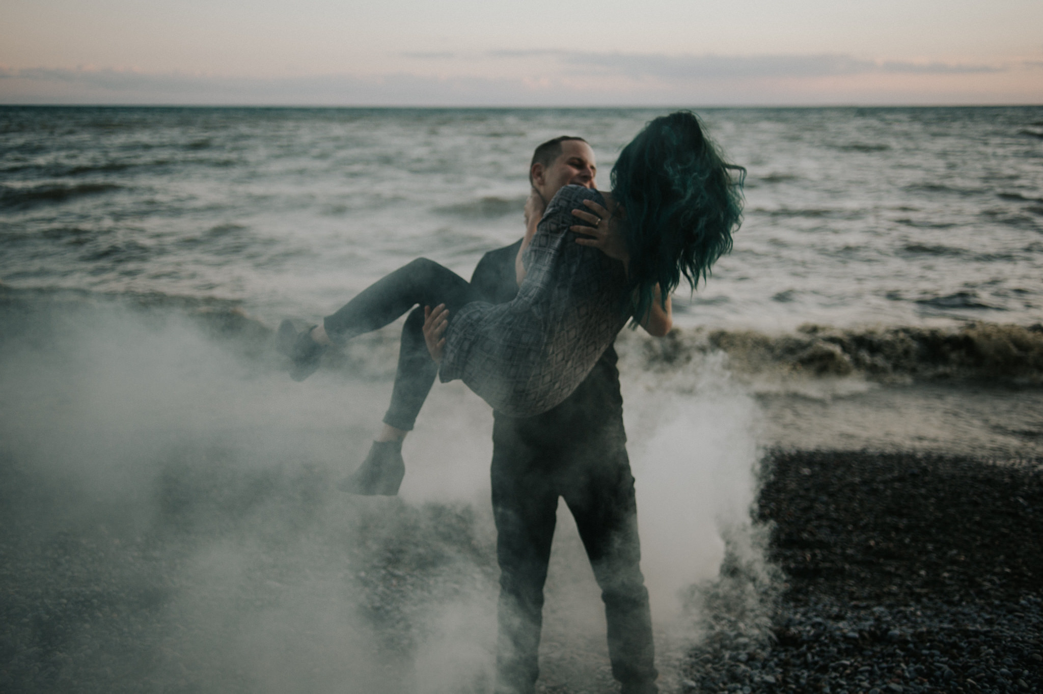 Smoke Bomb Portraits at dusk // Toronto wedding photographer Daring Wanderer