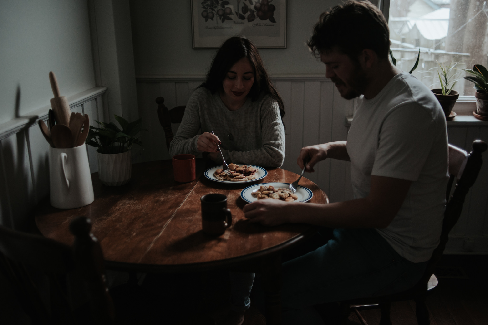 This Intimate In Home Engagement will make you want to cook up some pancakes for breakfast, cozy up by the fire and then hop in the bath tub while he reads to you and washes your hair // Photographed by Toronto Wedding Photographer Daring Wanderer