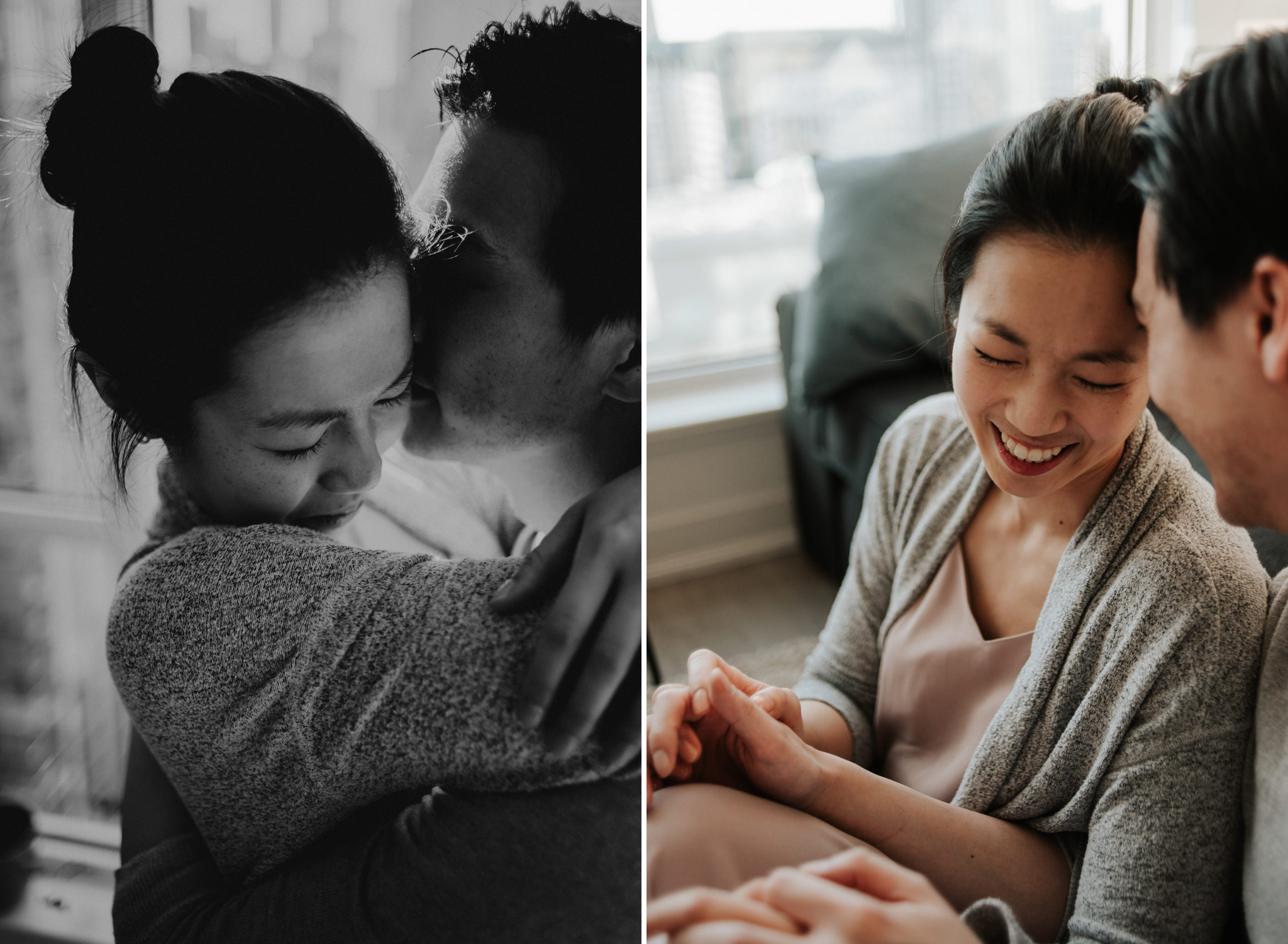 A cozy intimate morning sunrise engagement in their bright condo in downtown Toronto // Photographed by Toronto Wedding Photographer Daring Wanderer