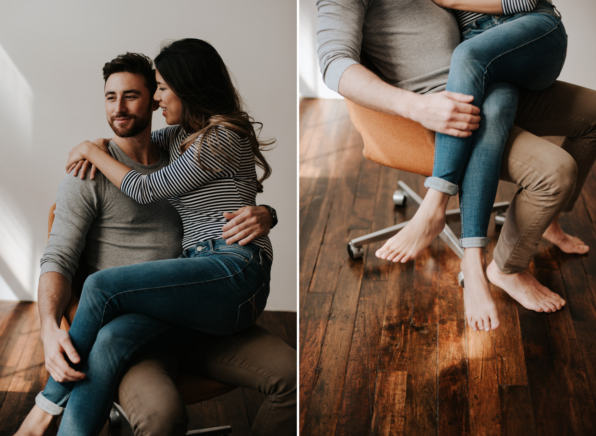 An authentic loft intimate couple shoot in downtown Toronto // Photographed by Toronto Wedding Photographer Daring Wanderer