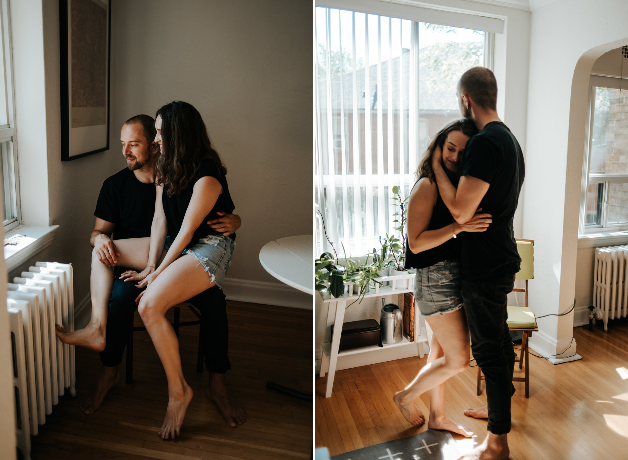 Intimate moment between couple as they hug in living room