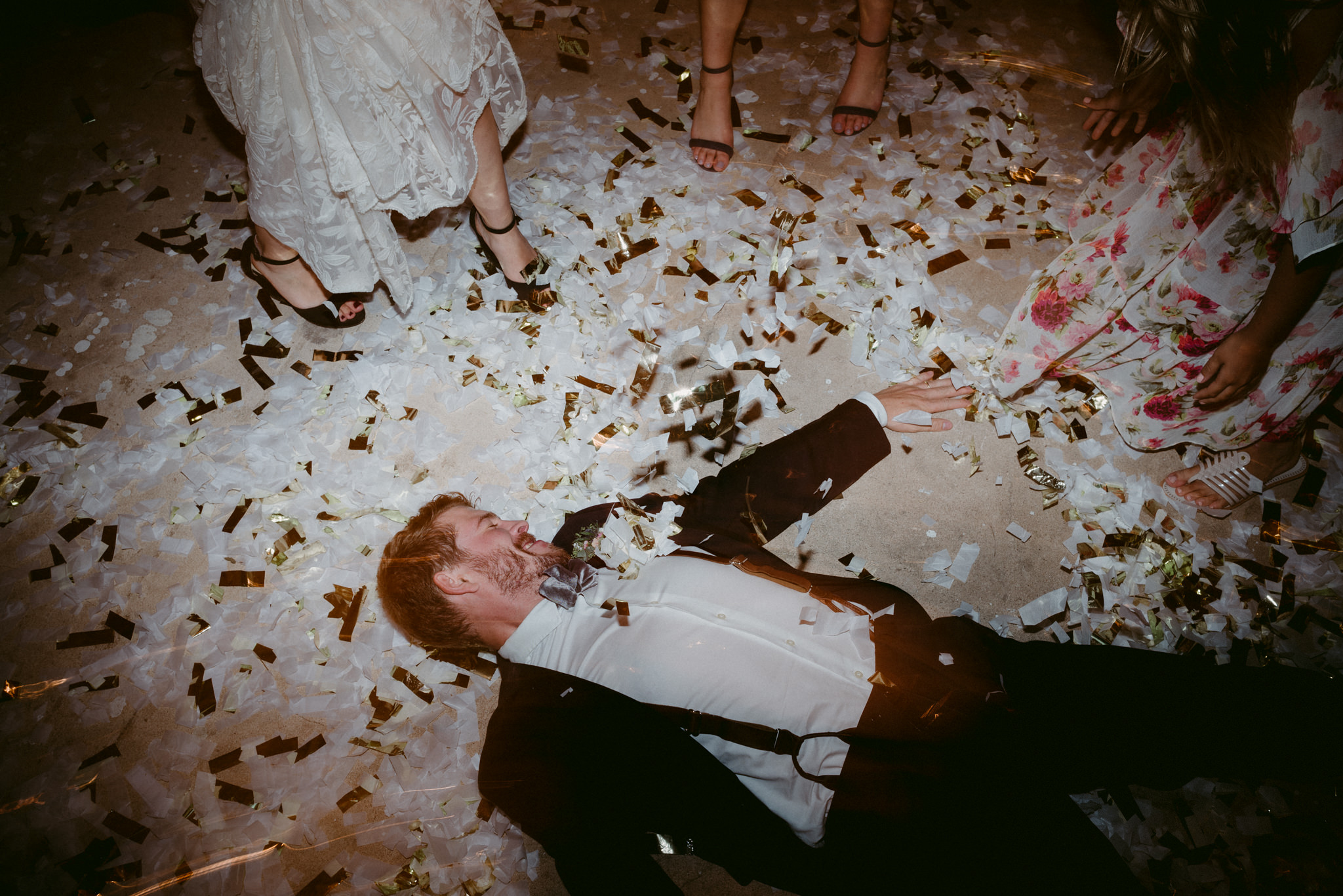 Confetti on the dance floor at wedding reception