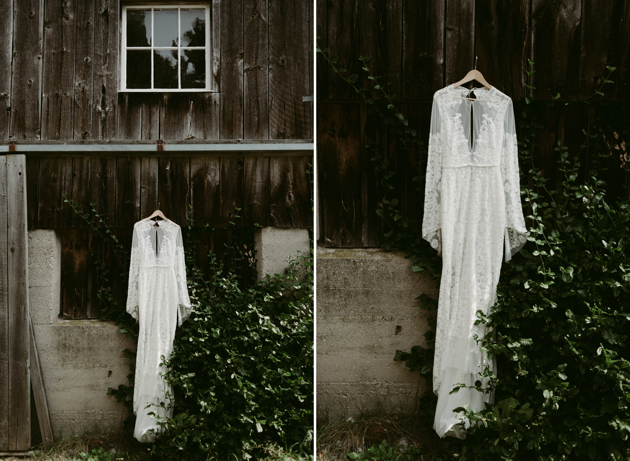 Rue de Seine wedding dress hanging outside barn