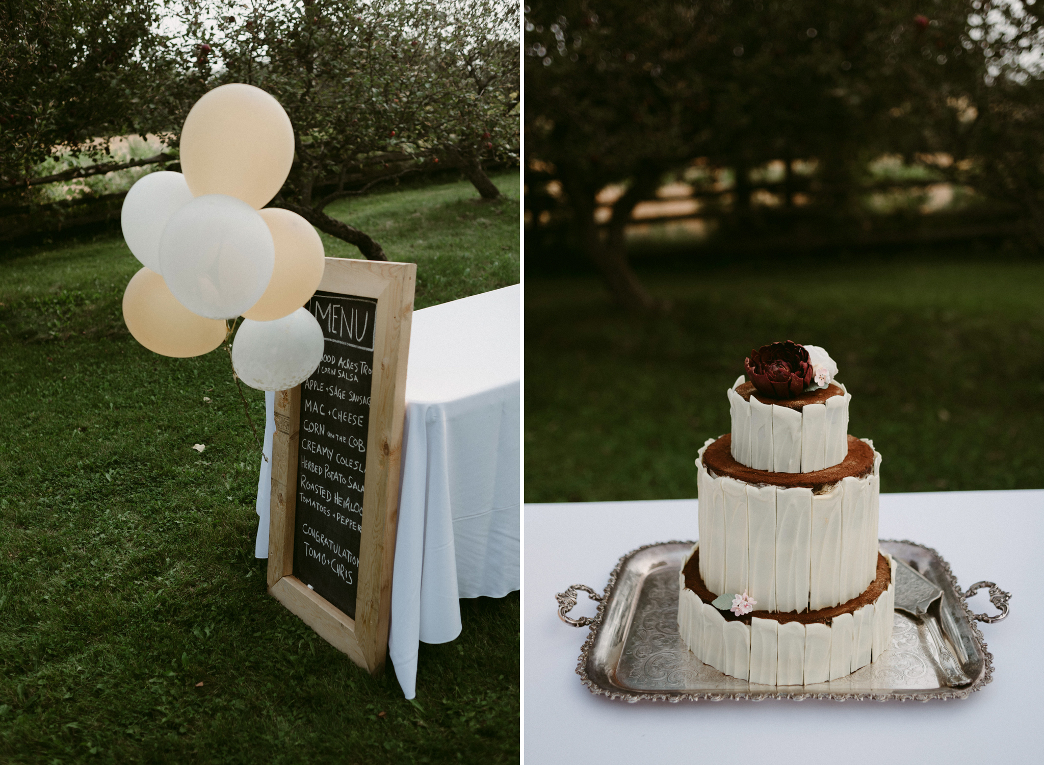 Chalkboard wedding sign and homemade wedding cake topped with flowers