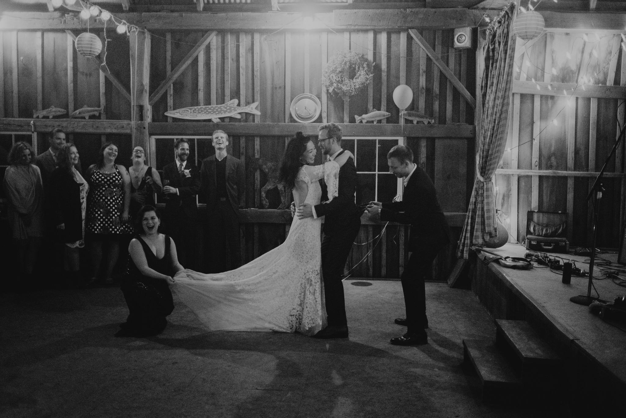 intimate first dance in barn