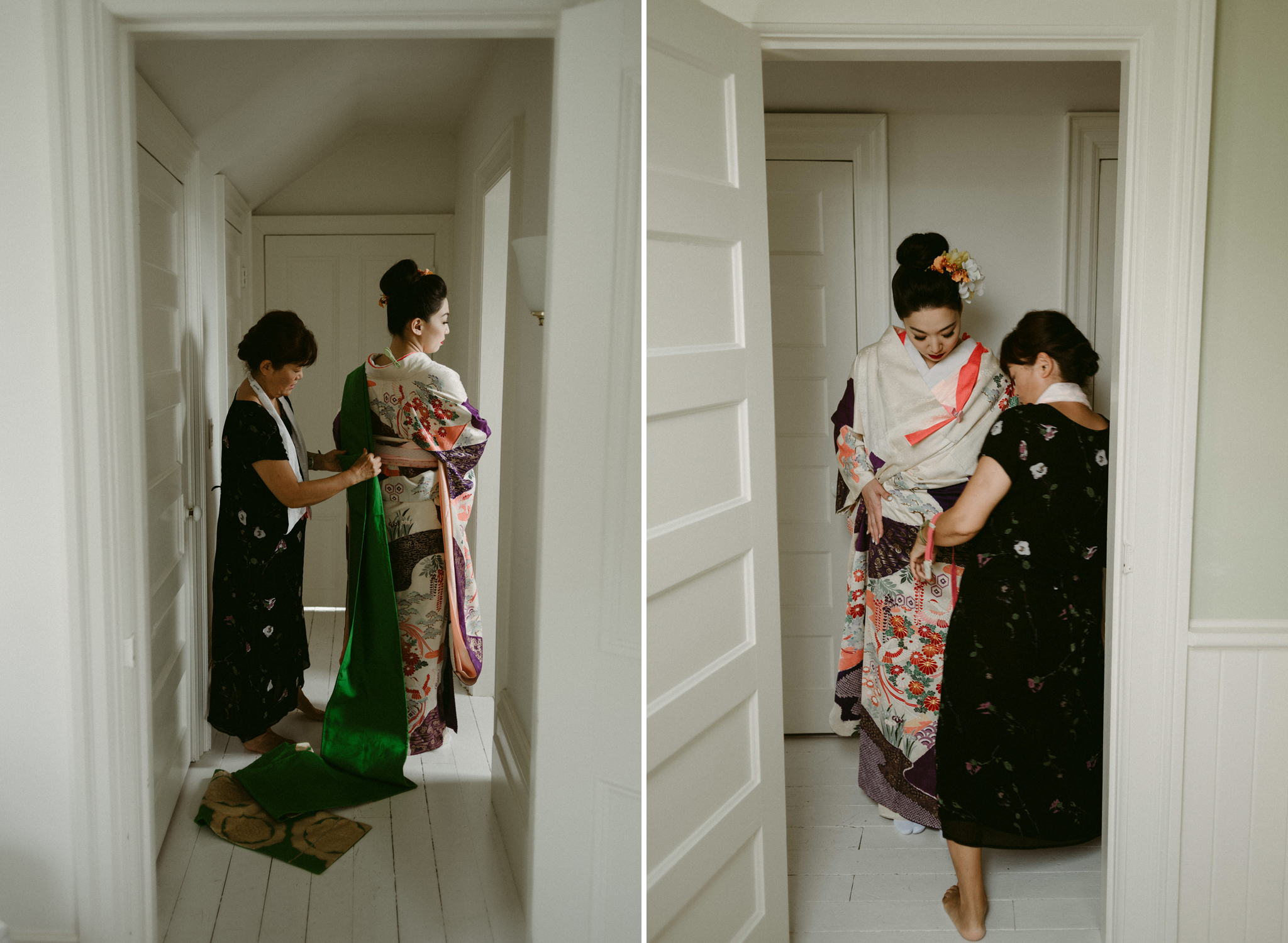 Japanese women being fitted into kimono
