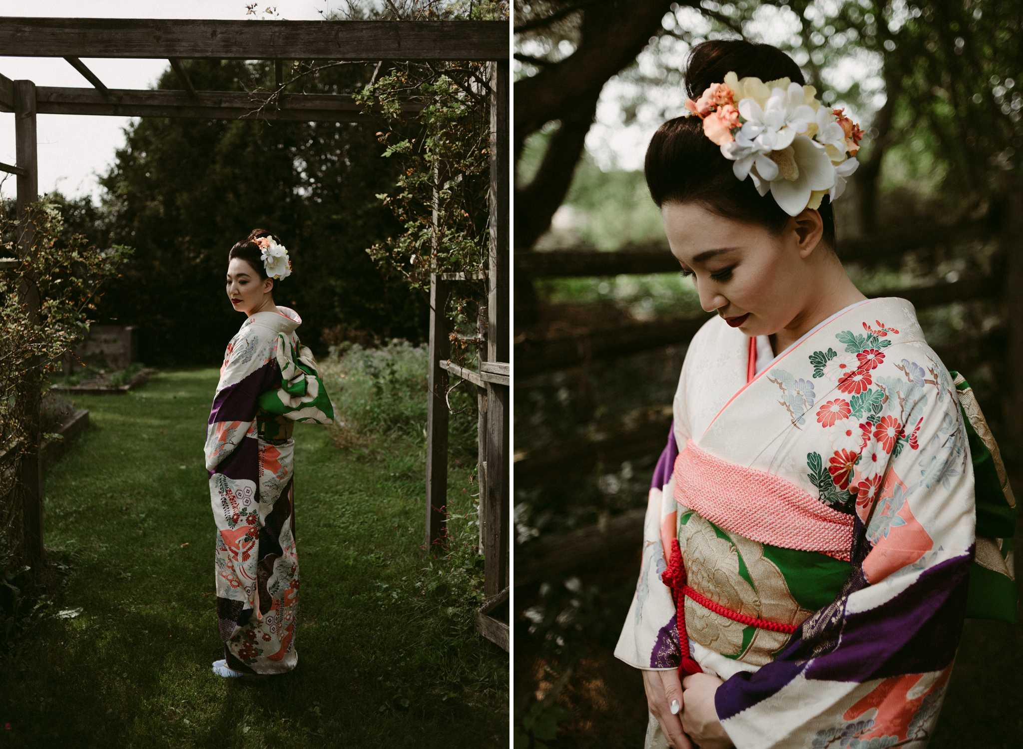 Japanese woman in kimono in garden