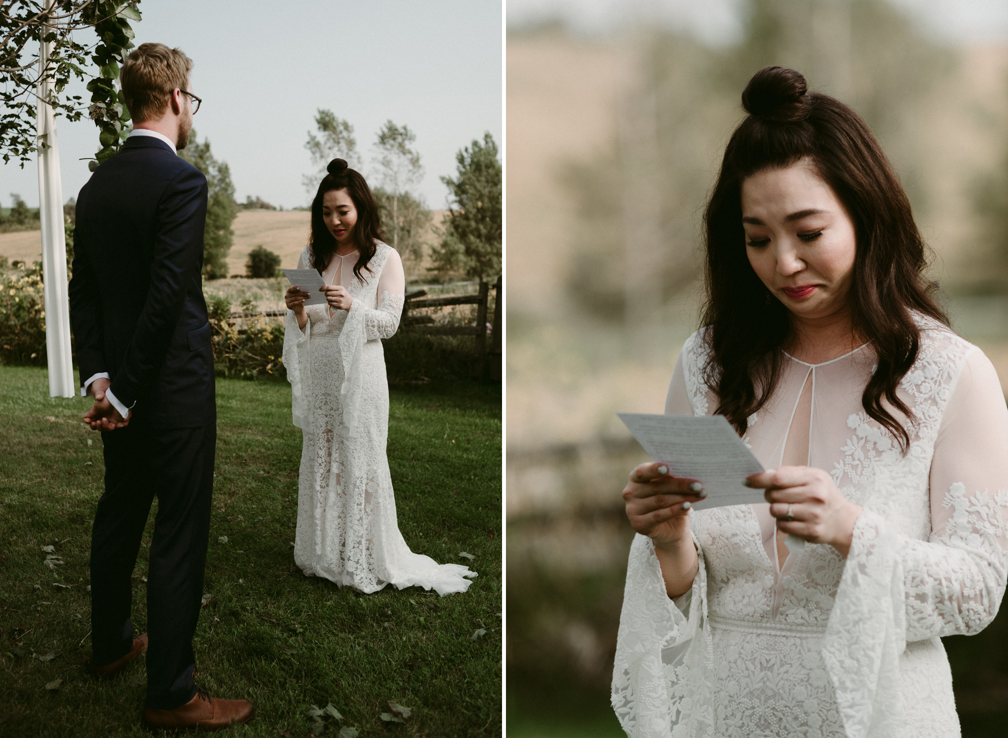 Emotional bride reading vows to groom in outdoor wedding ceremony