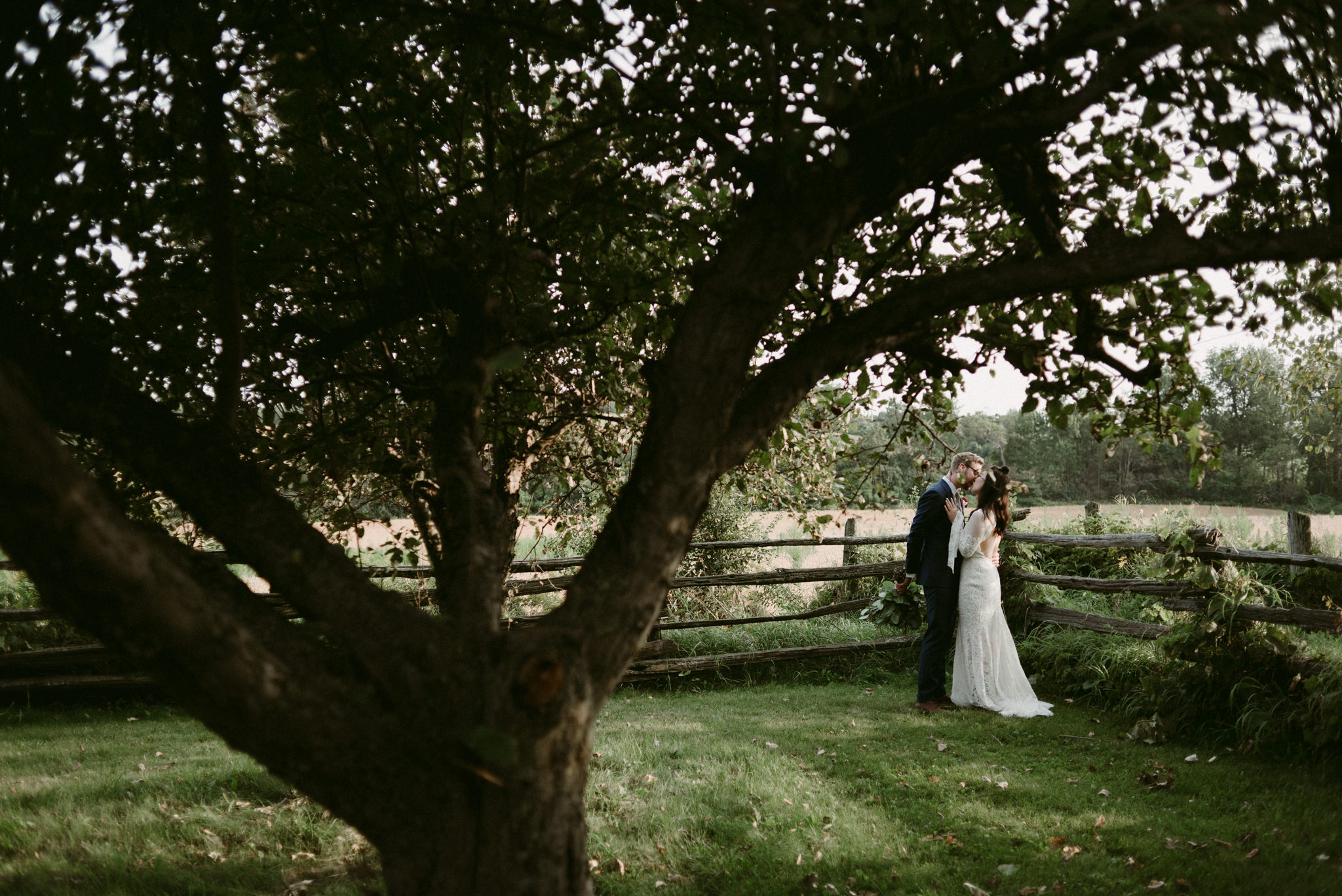 bride and groom kissing in orchard