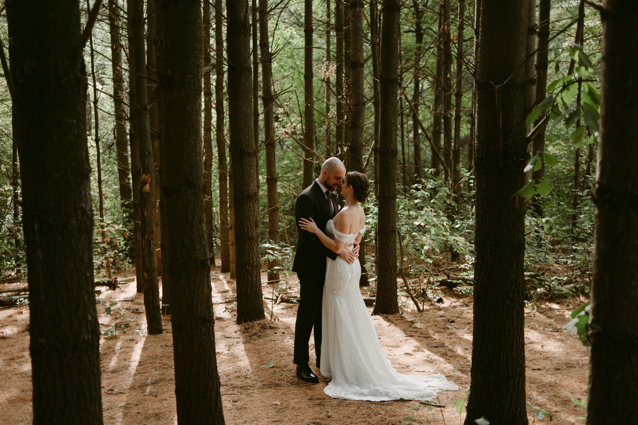 Bride and groom hugging in forest