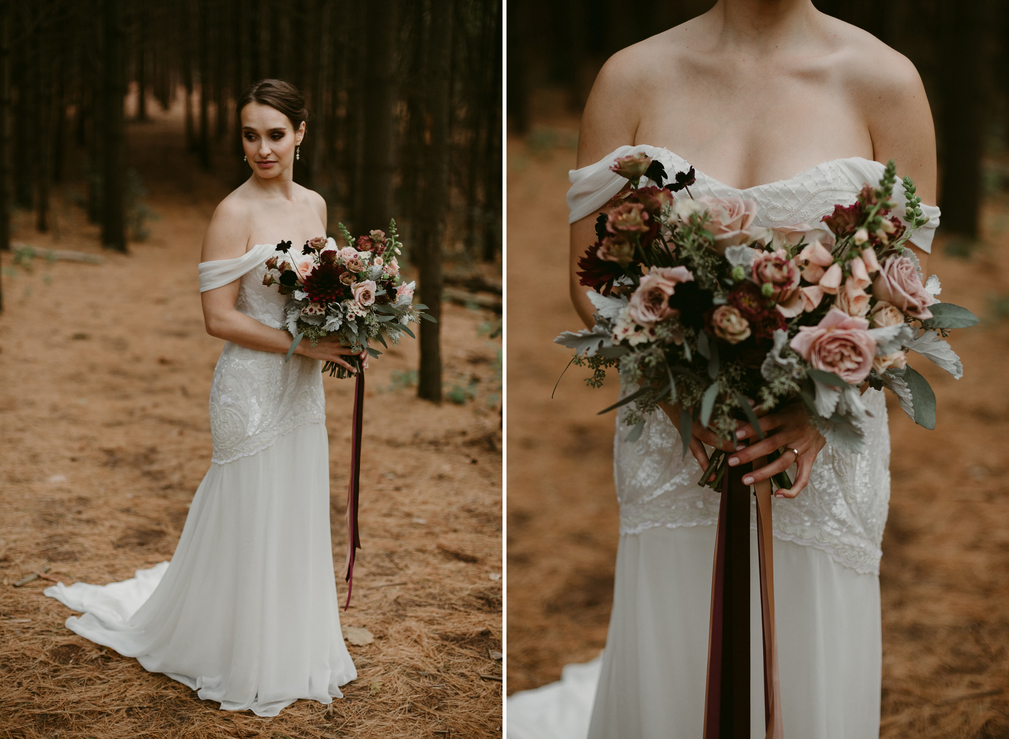 Bride holding large bouquet in forest