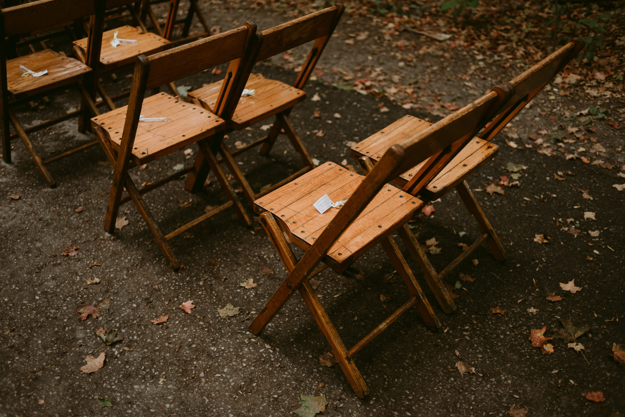 Wooden chairs with fall colours and leafs on ground