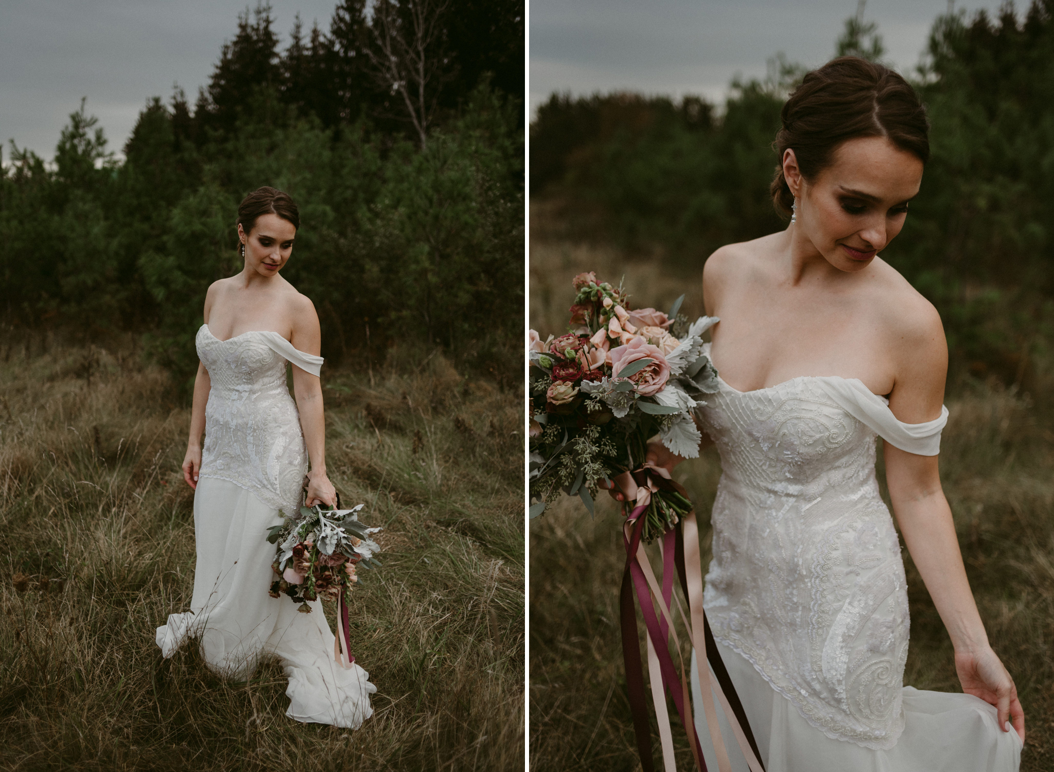 Bride holding maroon and pink bouquet in field