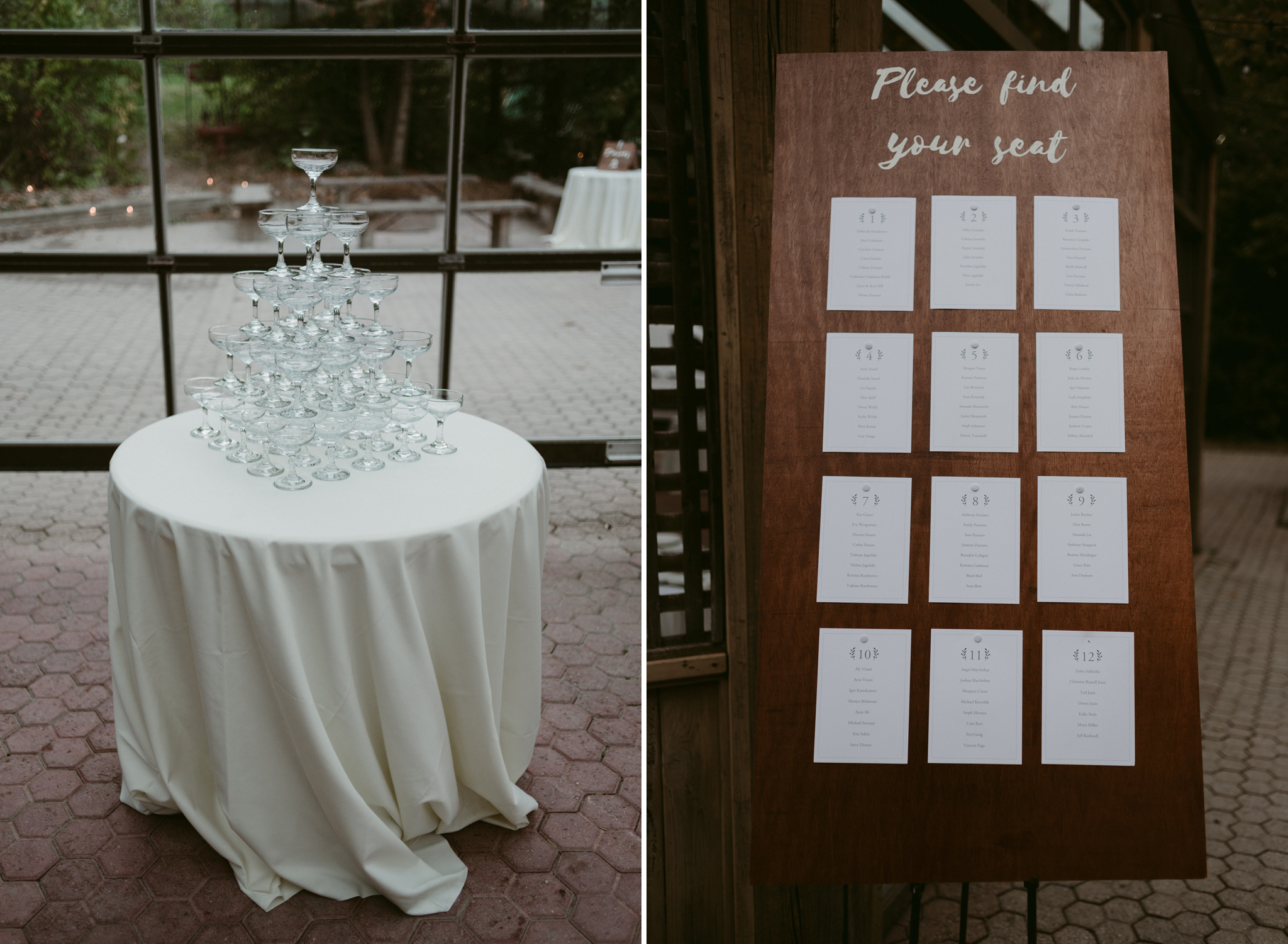 Champagne glass tower and handmade wooden sign seating chart for wedding