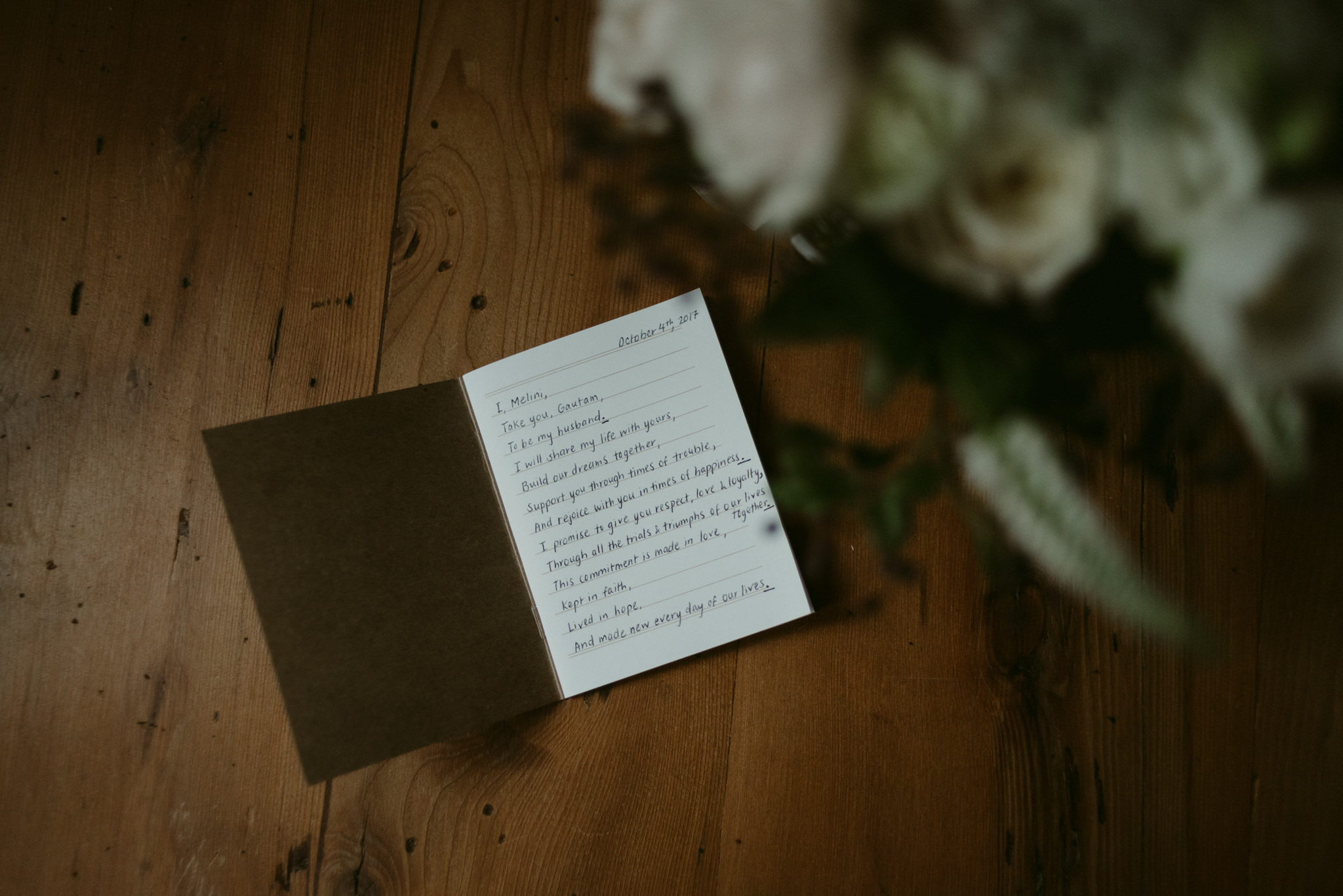 Wedding vows written in book