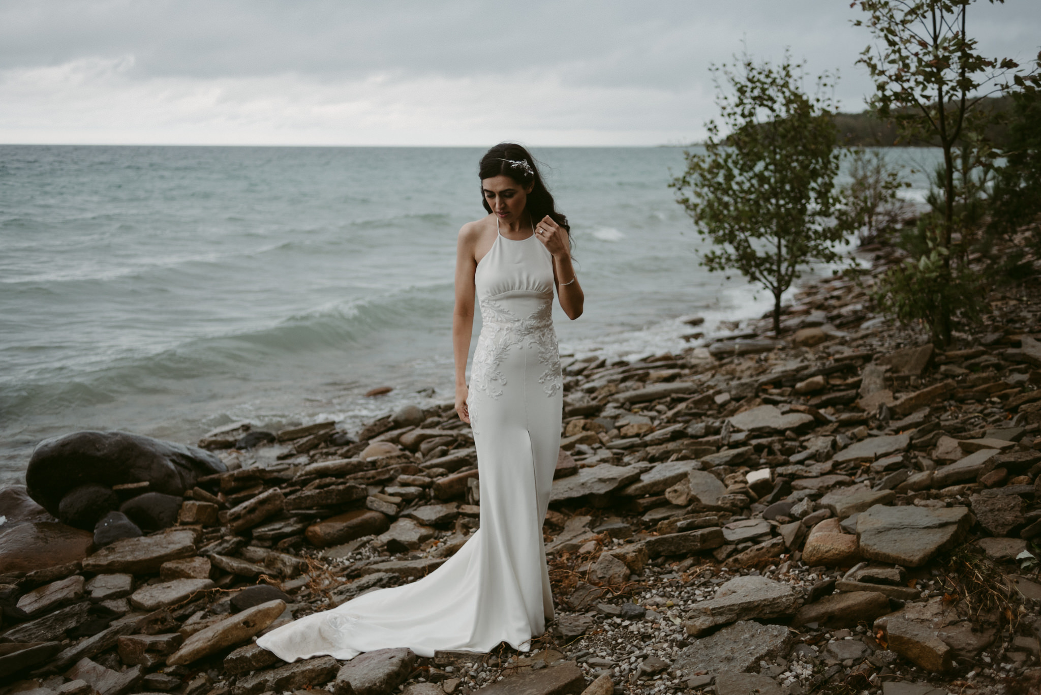Portrait of bride by water