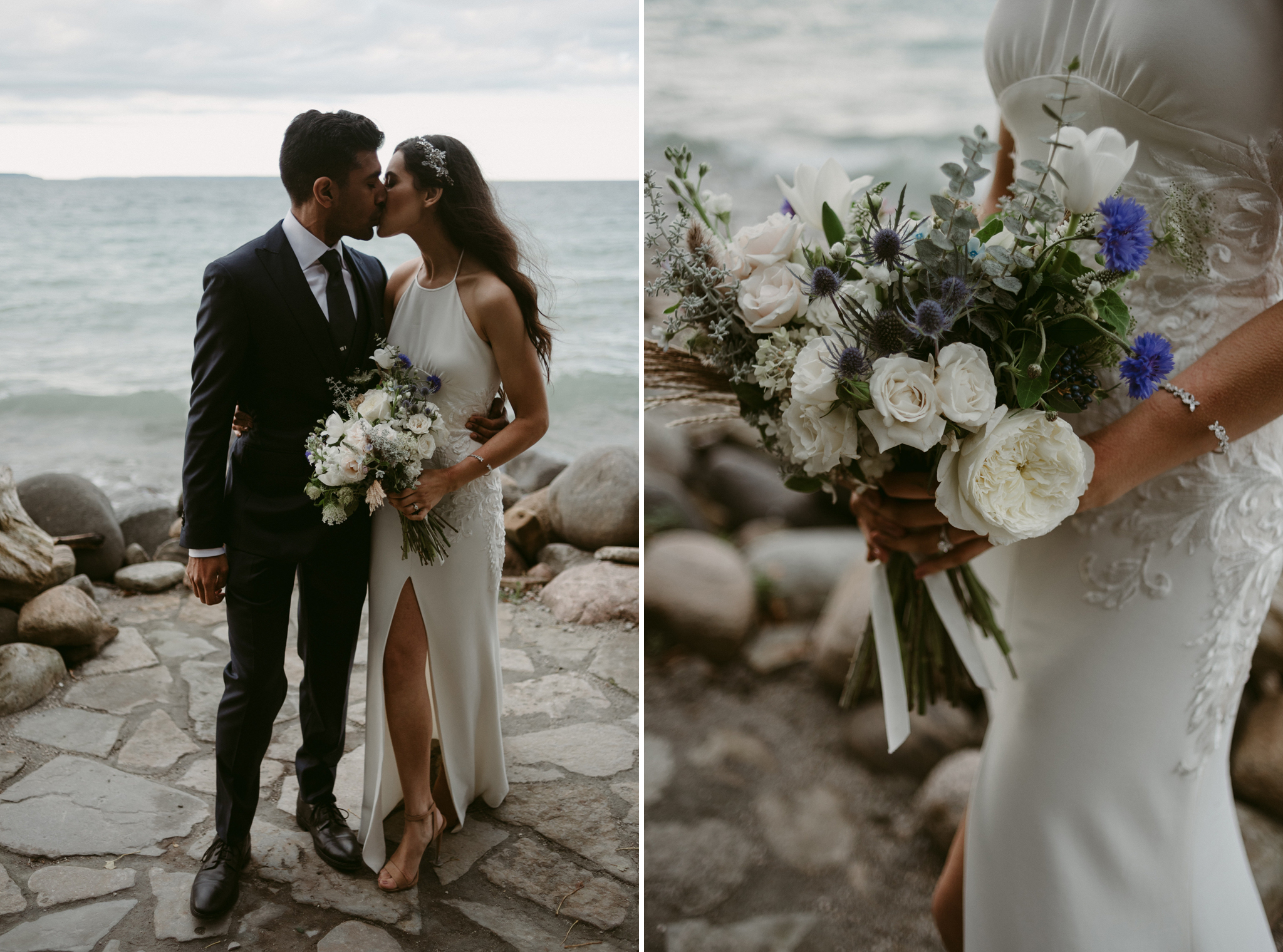 bride and groom kissing by waterfront