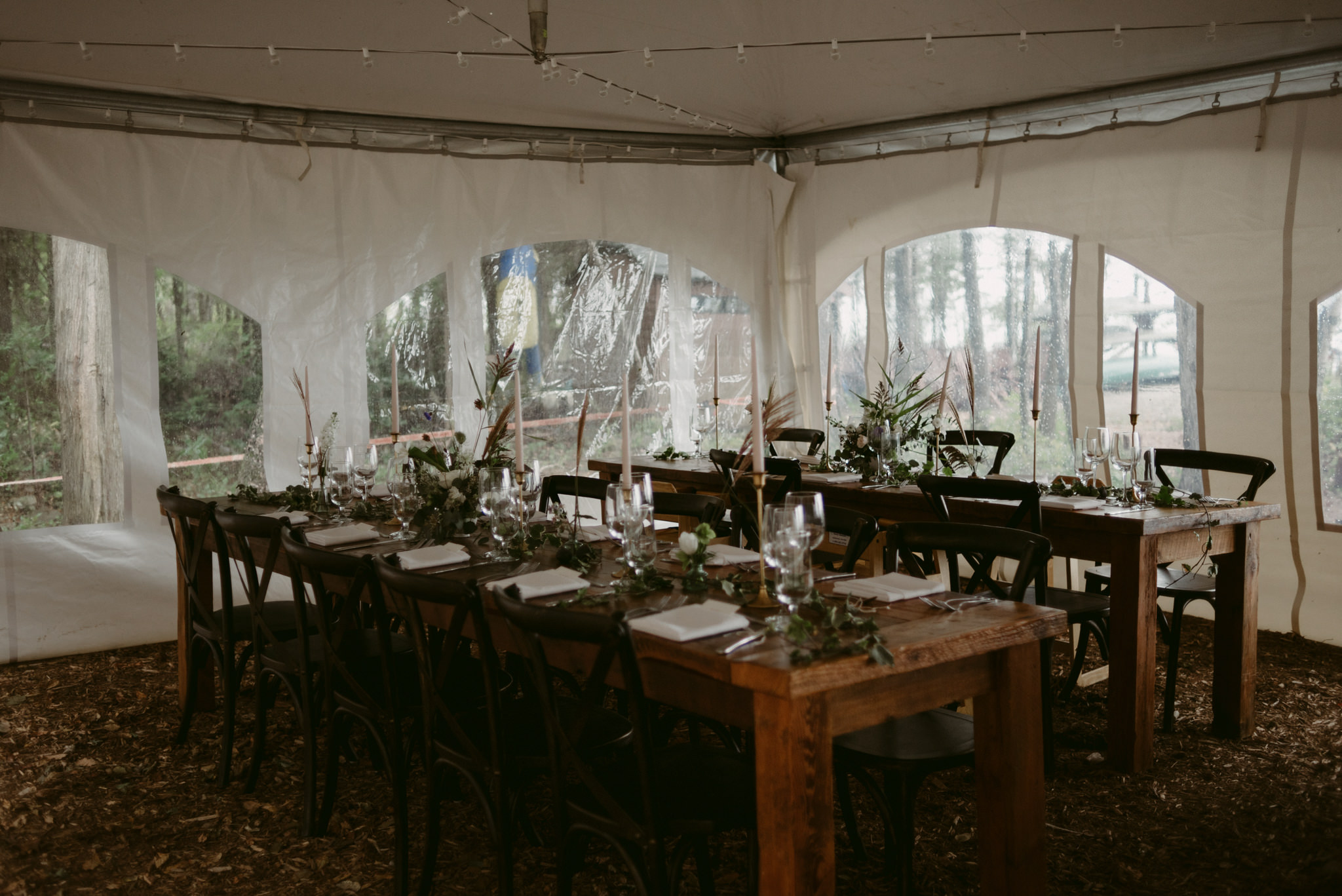 intimate tent reception at cottage wedding