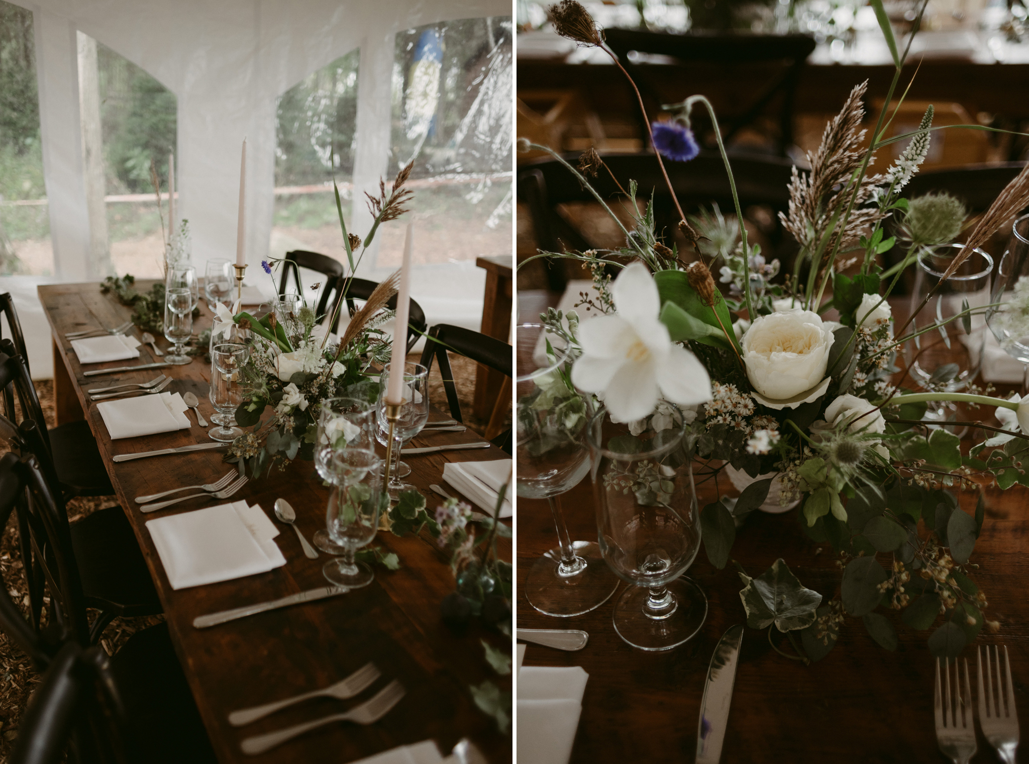 beautiful organic flower arrangement on table for wedding reception