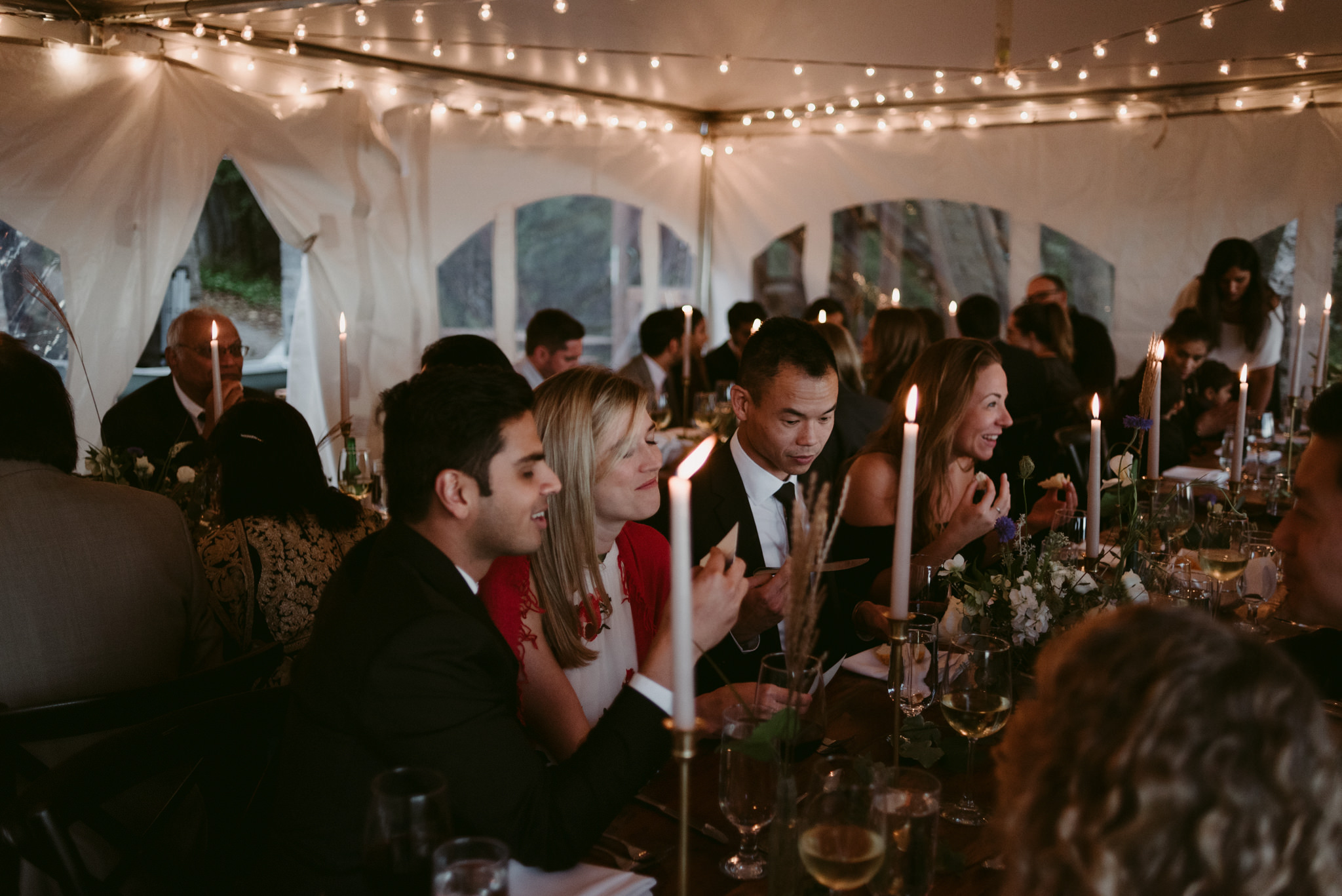 guests inside tent for intimate cottage wedding
