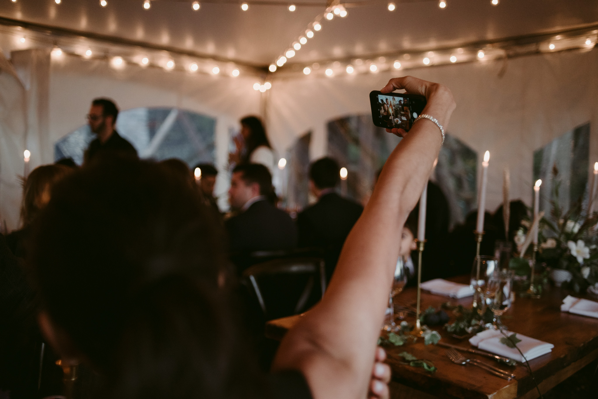 guests taking selfie during wedding reception