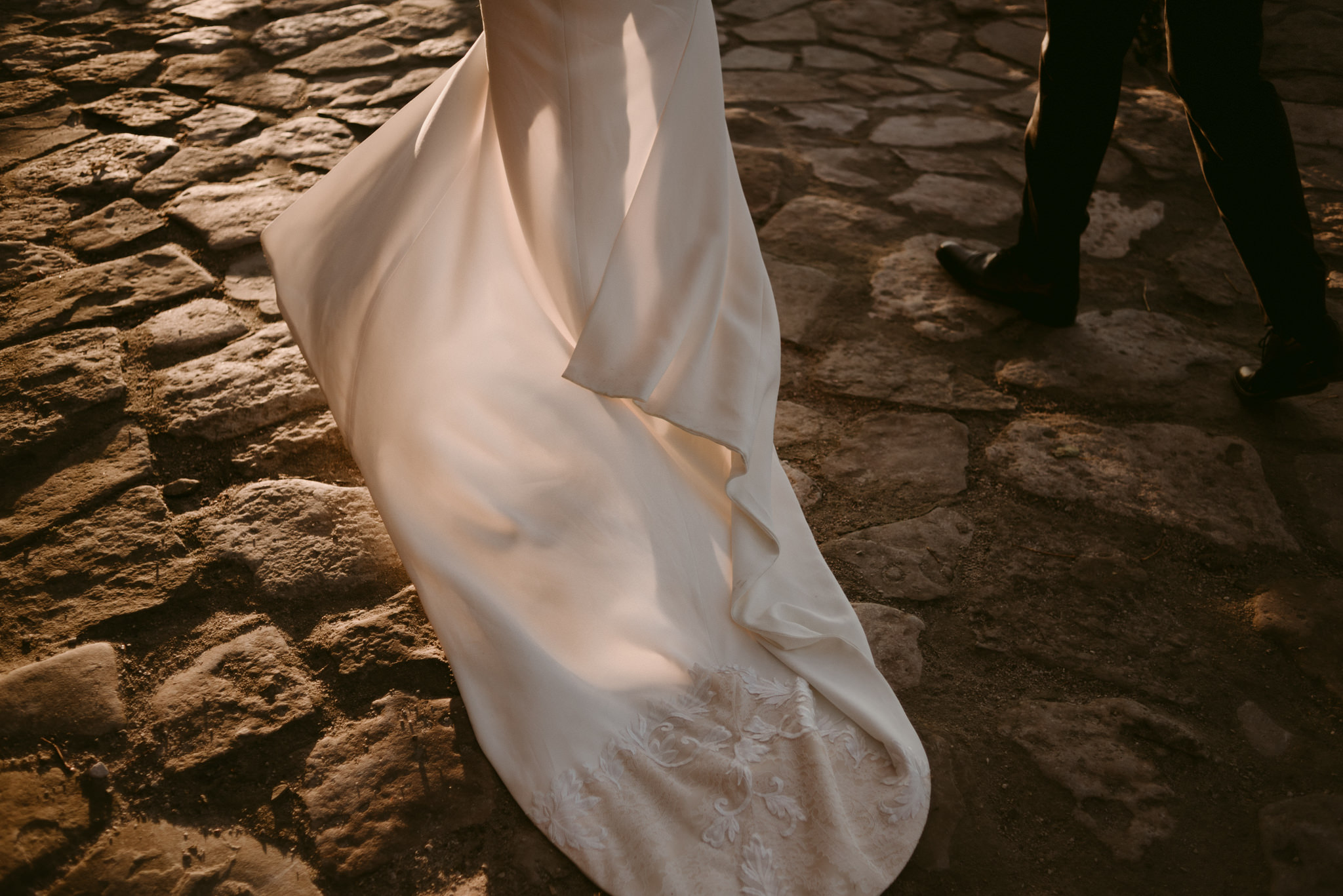 sun hitting brides dress