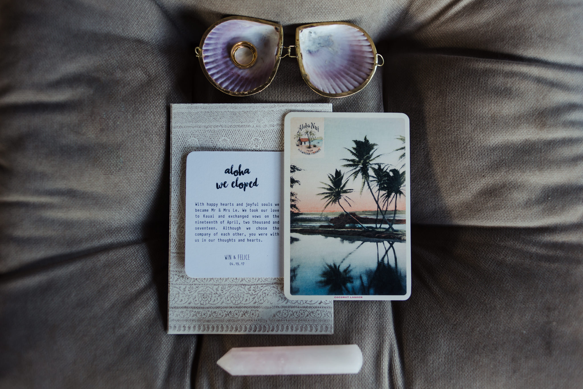 Tropical themed wedding invitation for elopement announcement