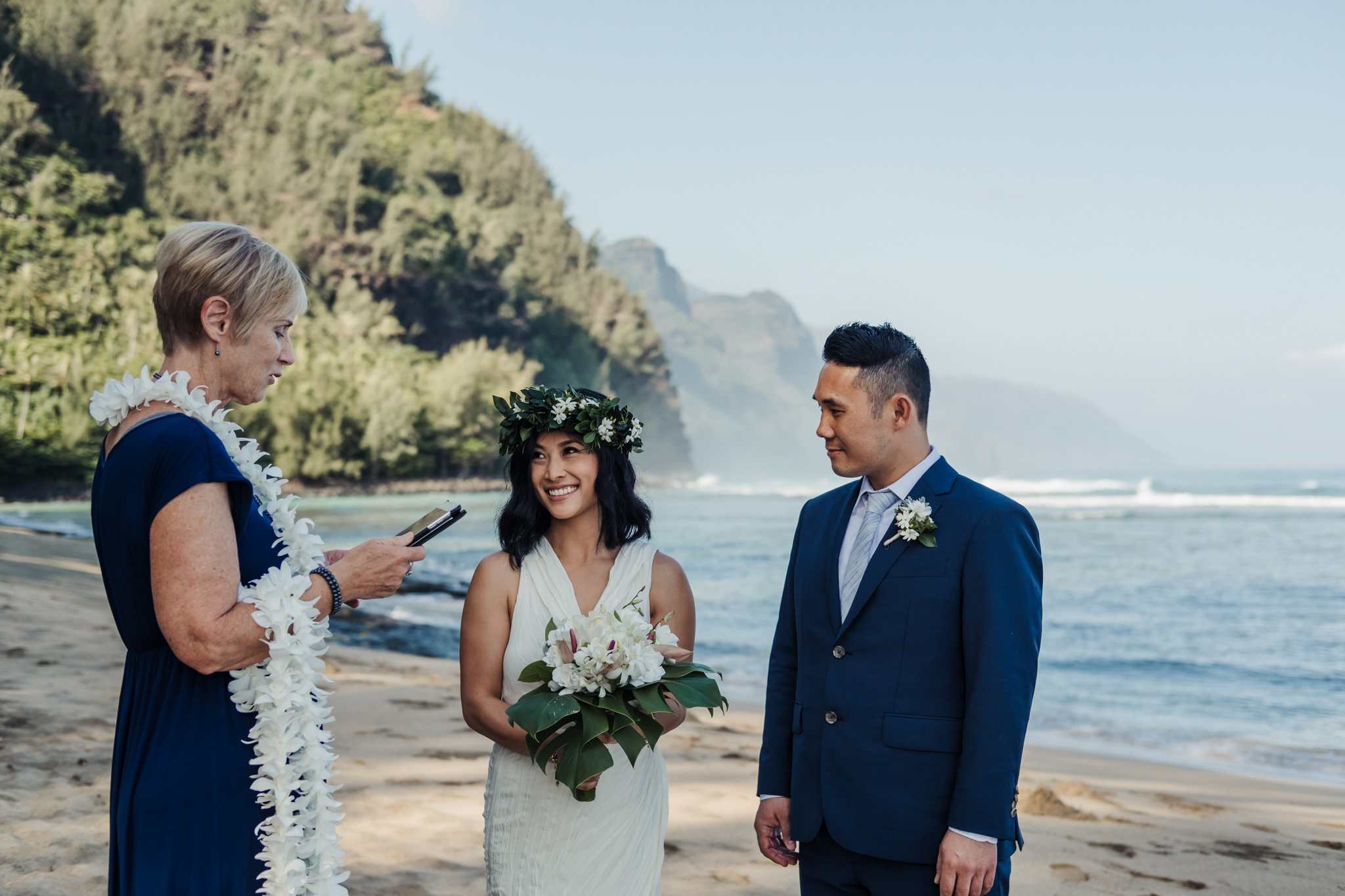 Hawaiian beach wedding ceremony