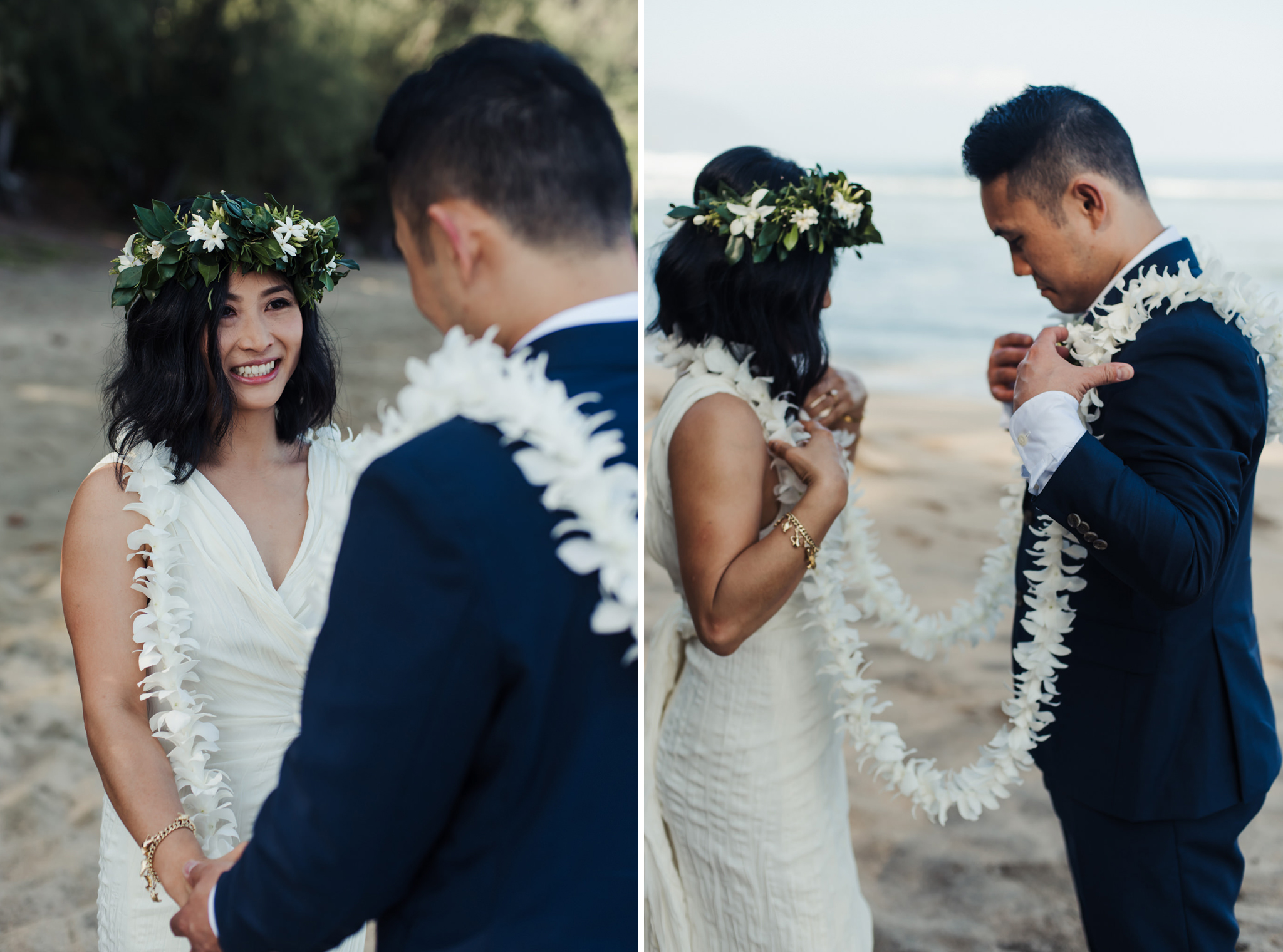 Bride and groom holding hands in Hawaiian wedding ceremony