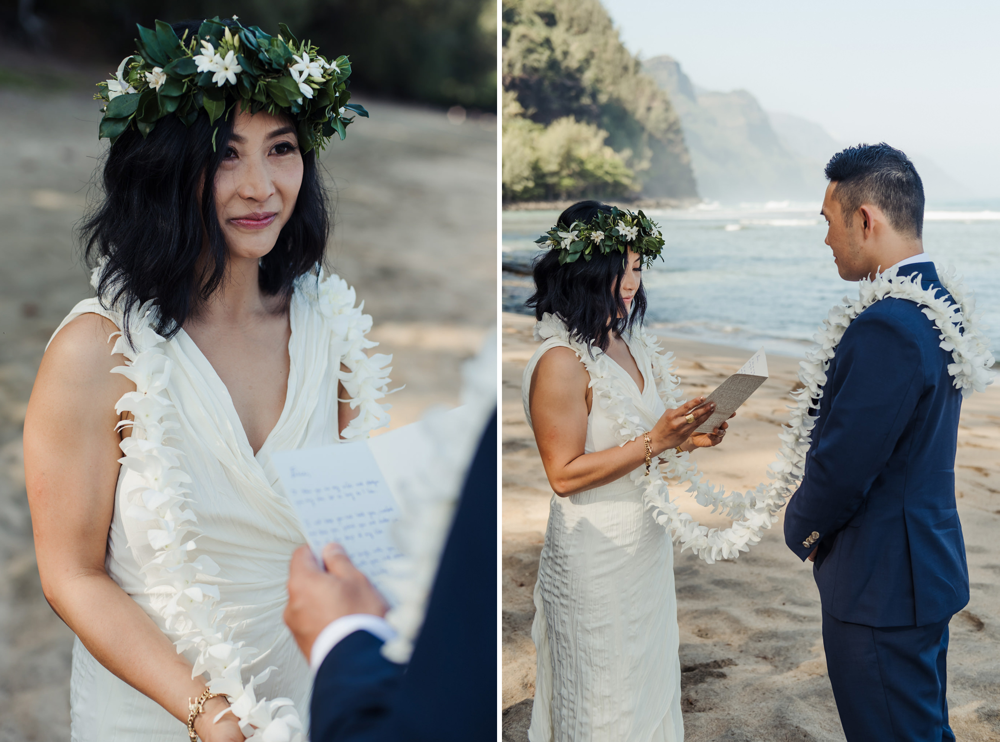 emotional bride while groom reads vows in beach ceremony