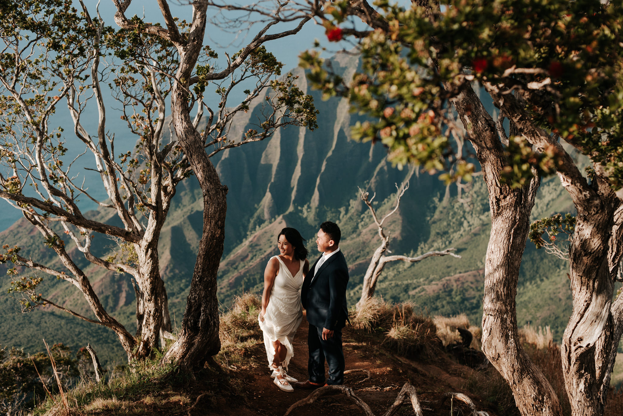 bride and groom standing with view of Na Pali coast cliffs in Kokee State Park
