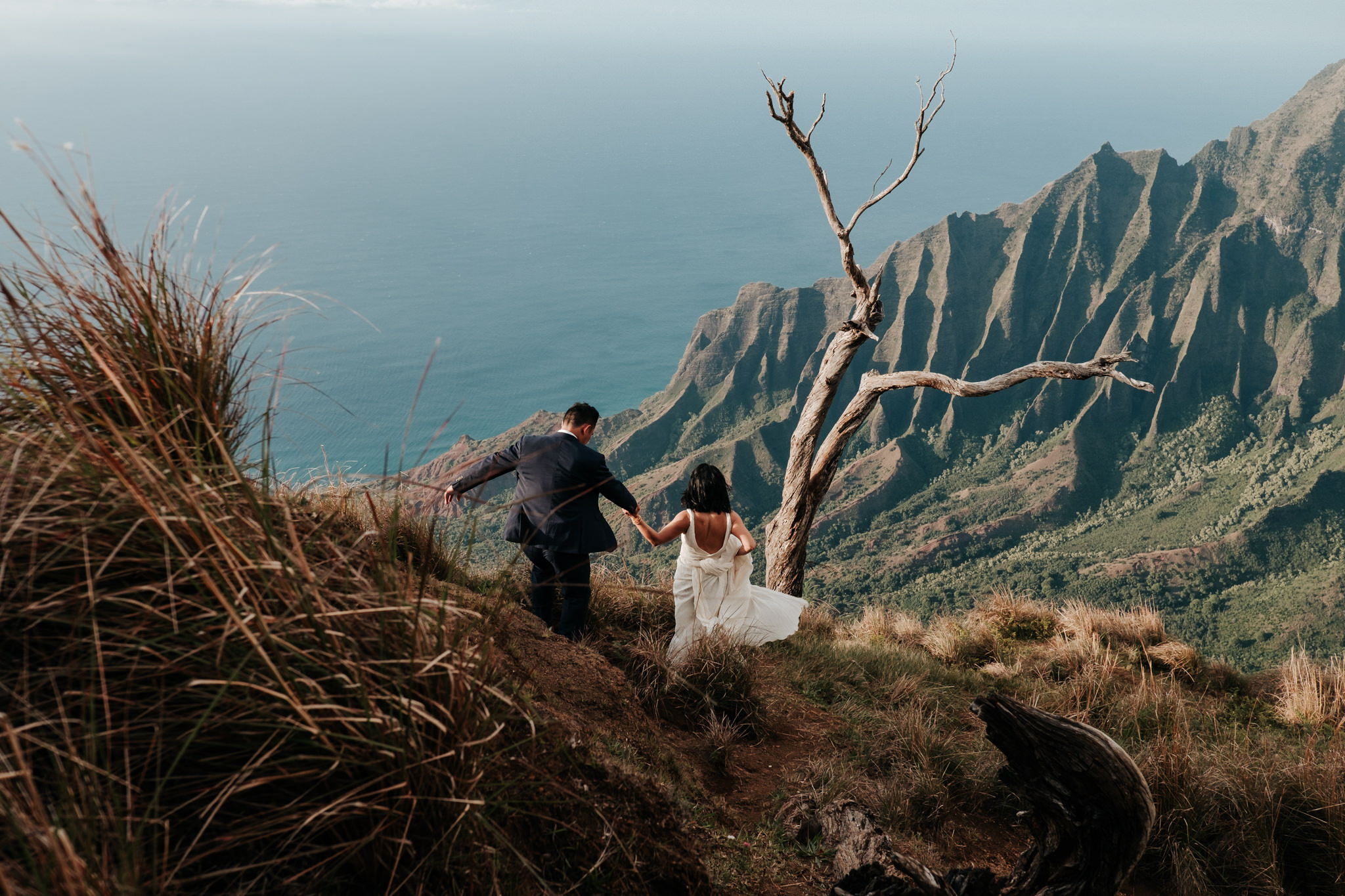 bride and groom hiking down to view of Na Pali coast cliffs in Kokee State Park