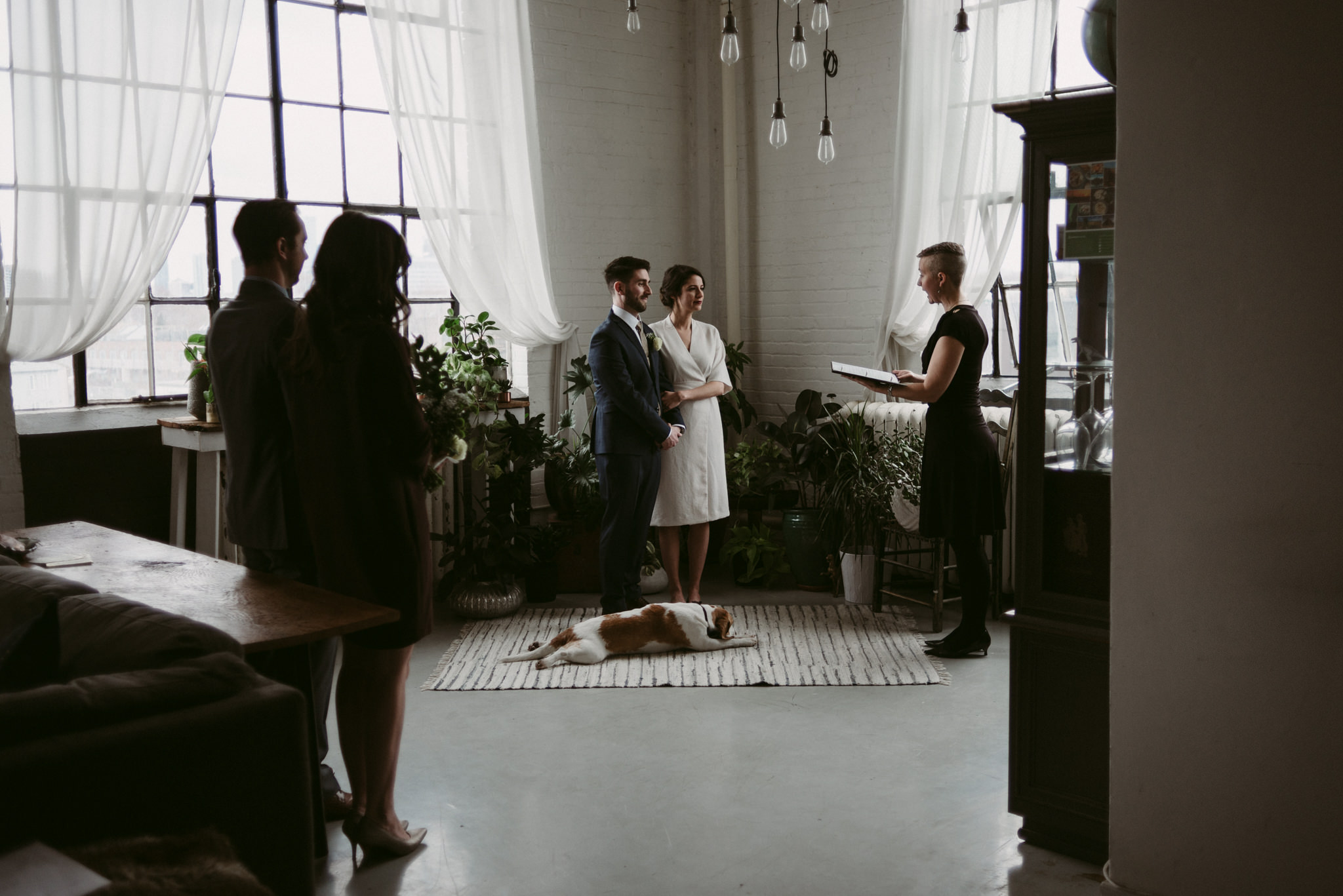 Bride and groom elopement in trendy loft