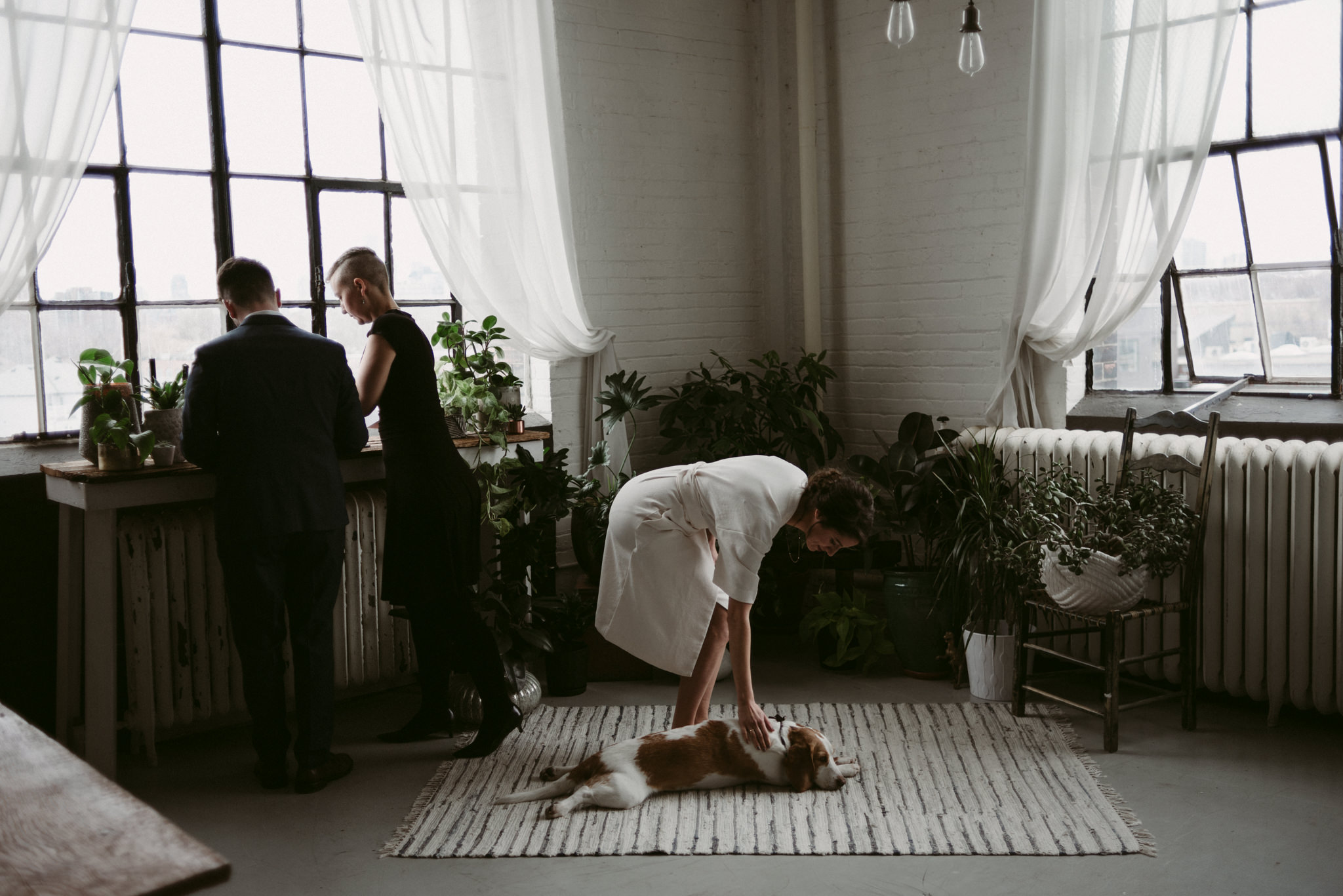 Bride petting dog was groom signs marriage license in trendy Toronto loft