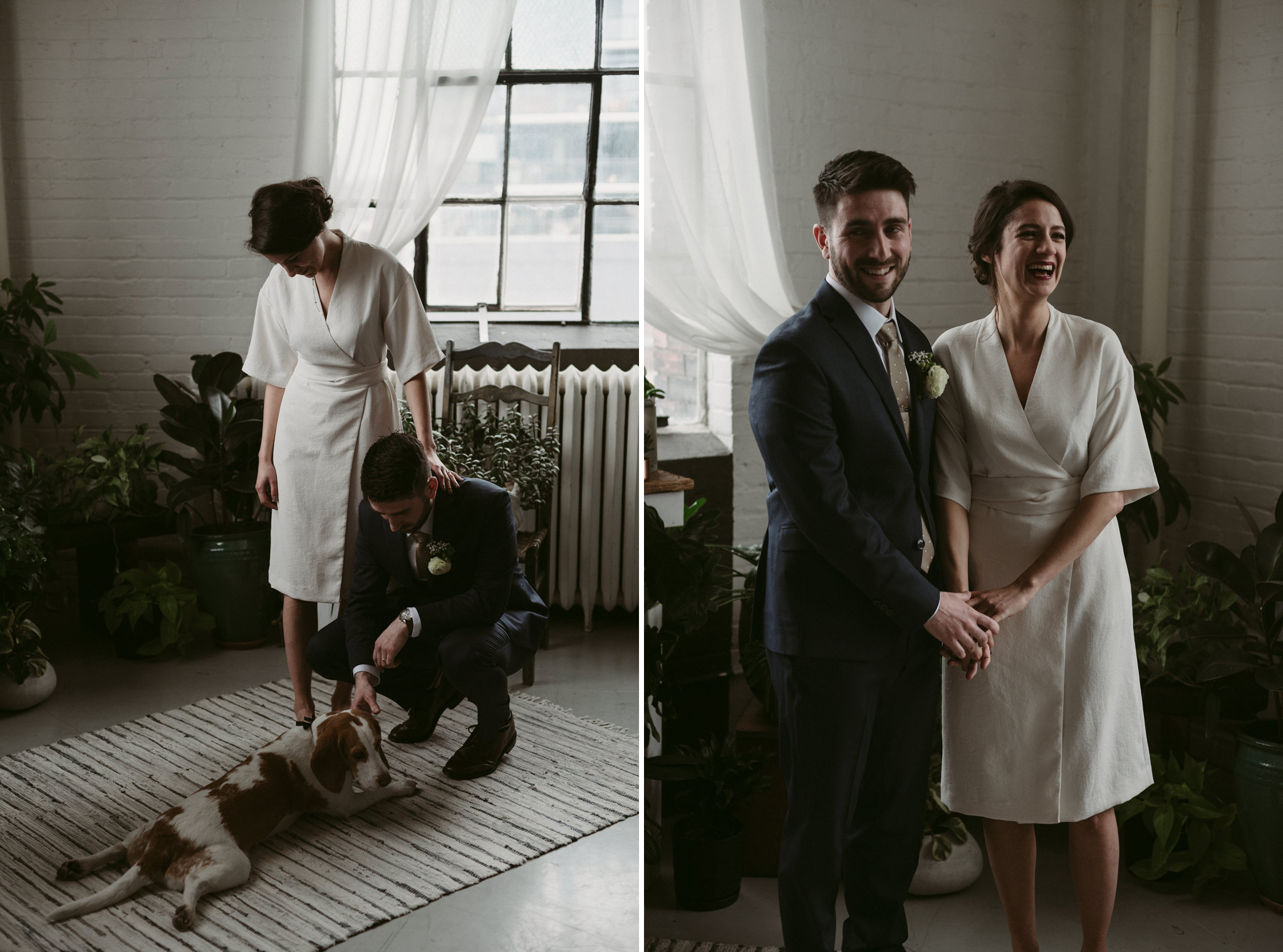 groom petting dog during Toronto loft elopement ceremony