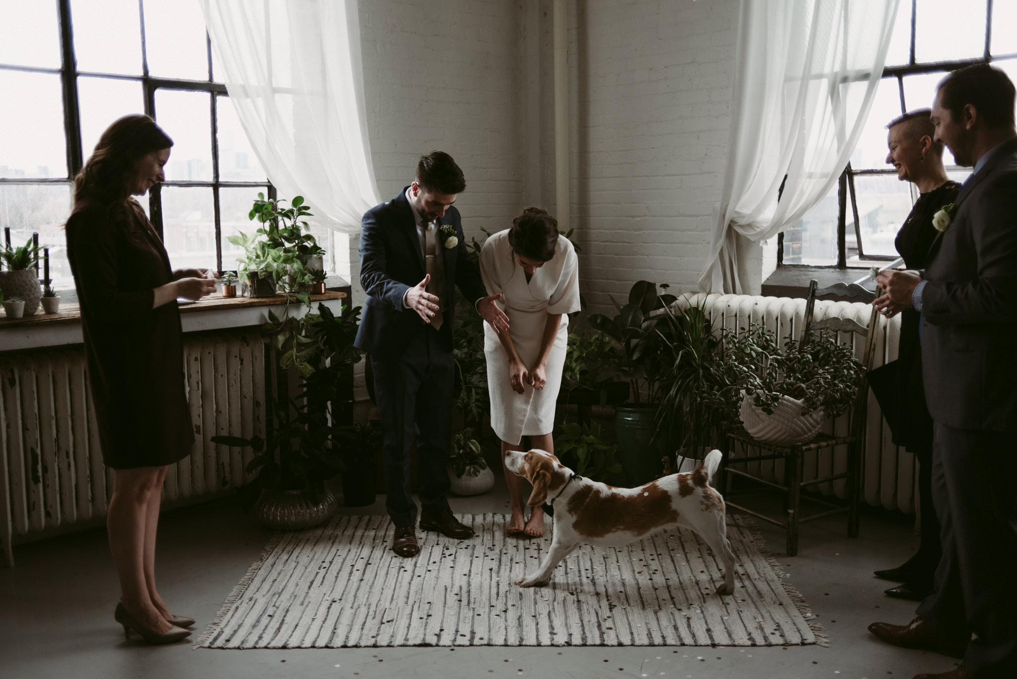 Elopement ceremony in trendy Toronto loft