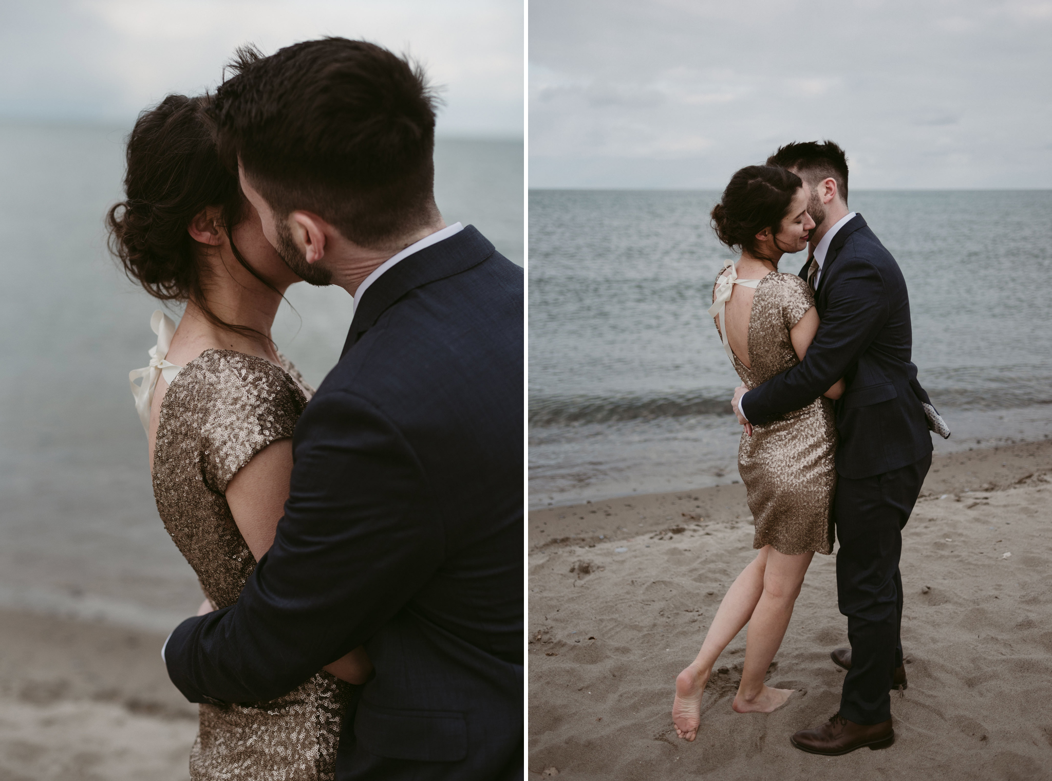 Guy kissing girl on cheek on the beach