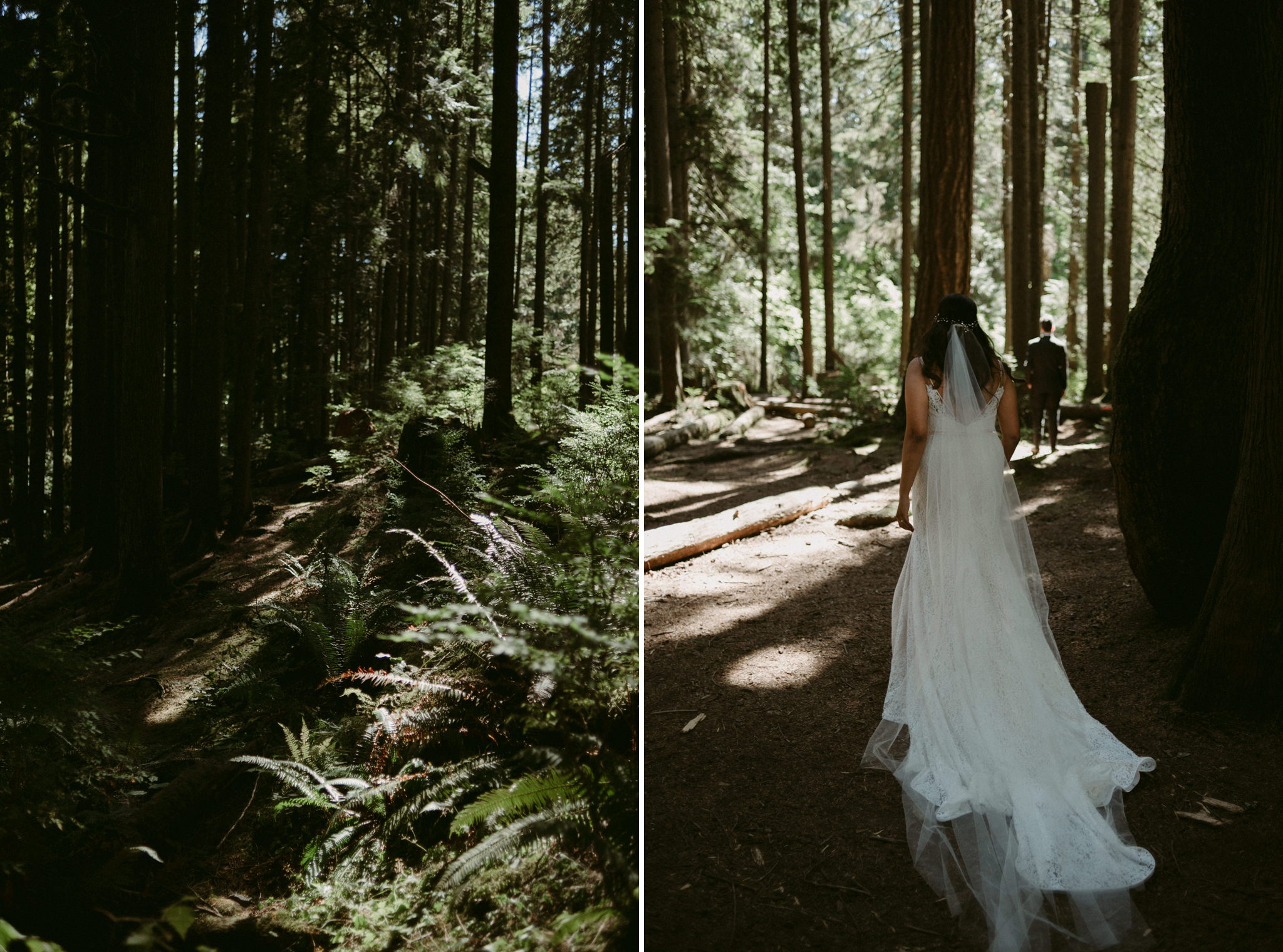 bride walking up to groom in forest for first look