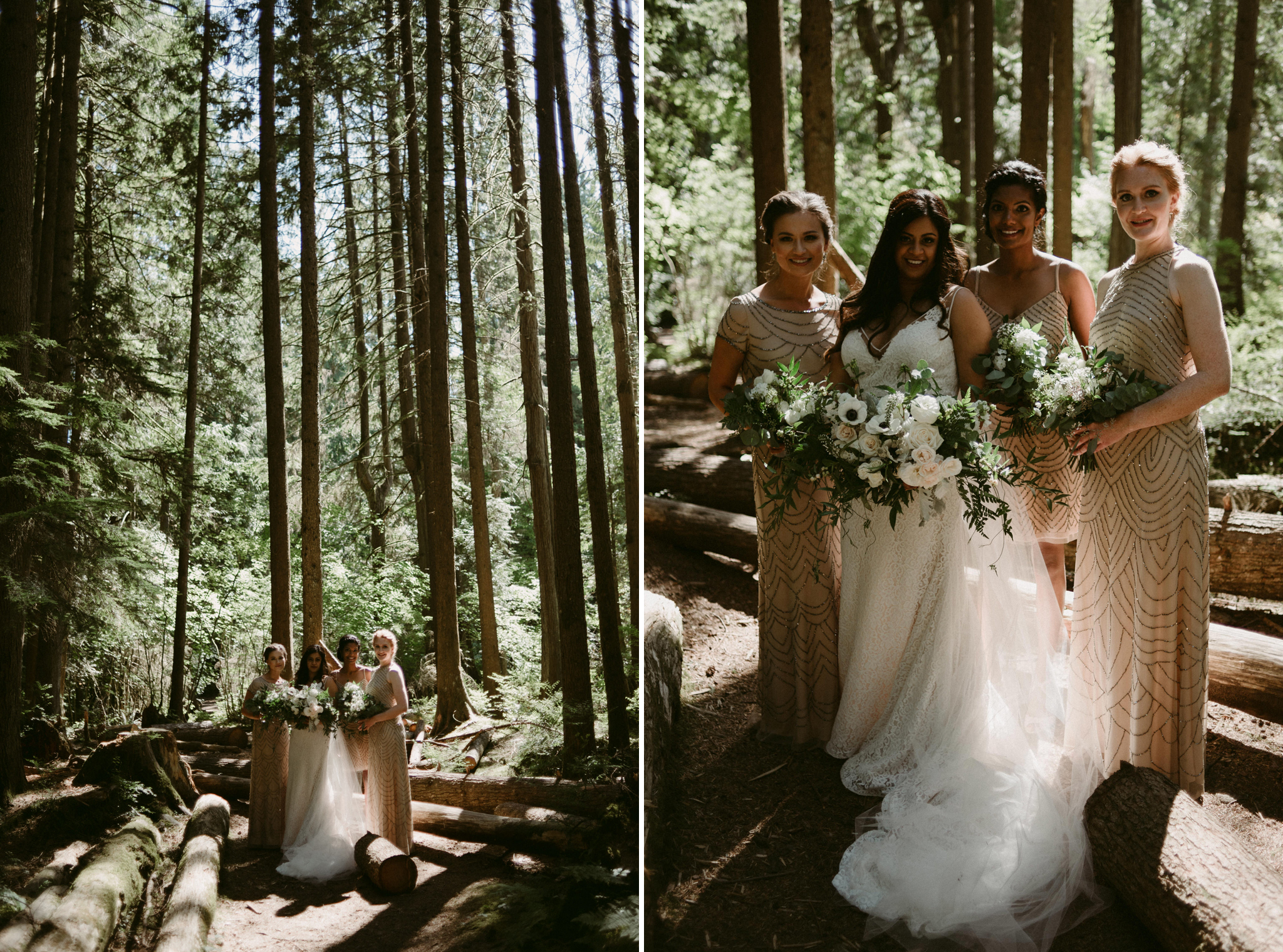 bridesmaids with bride in forest
