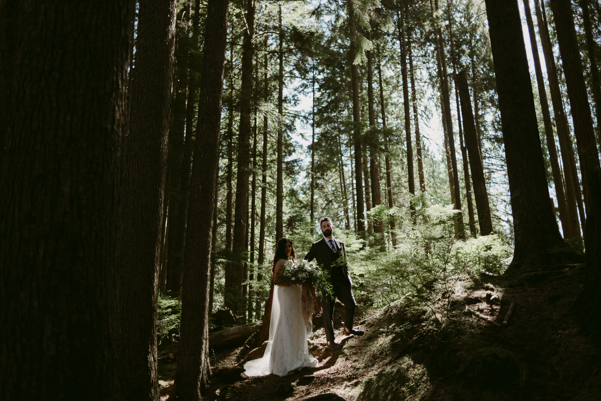 bride and groom standing in light in forest of tall pines