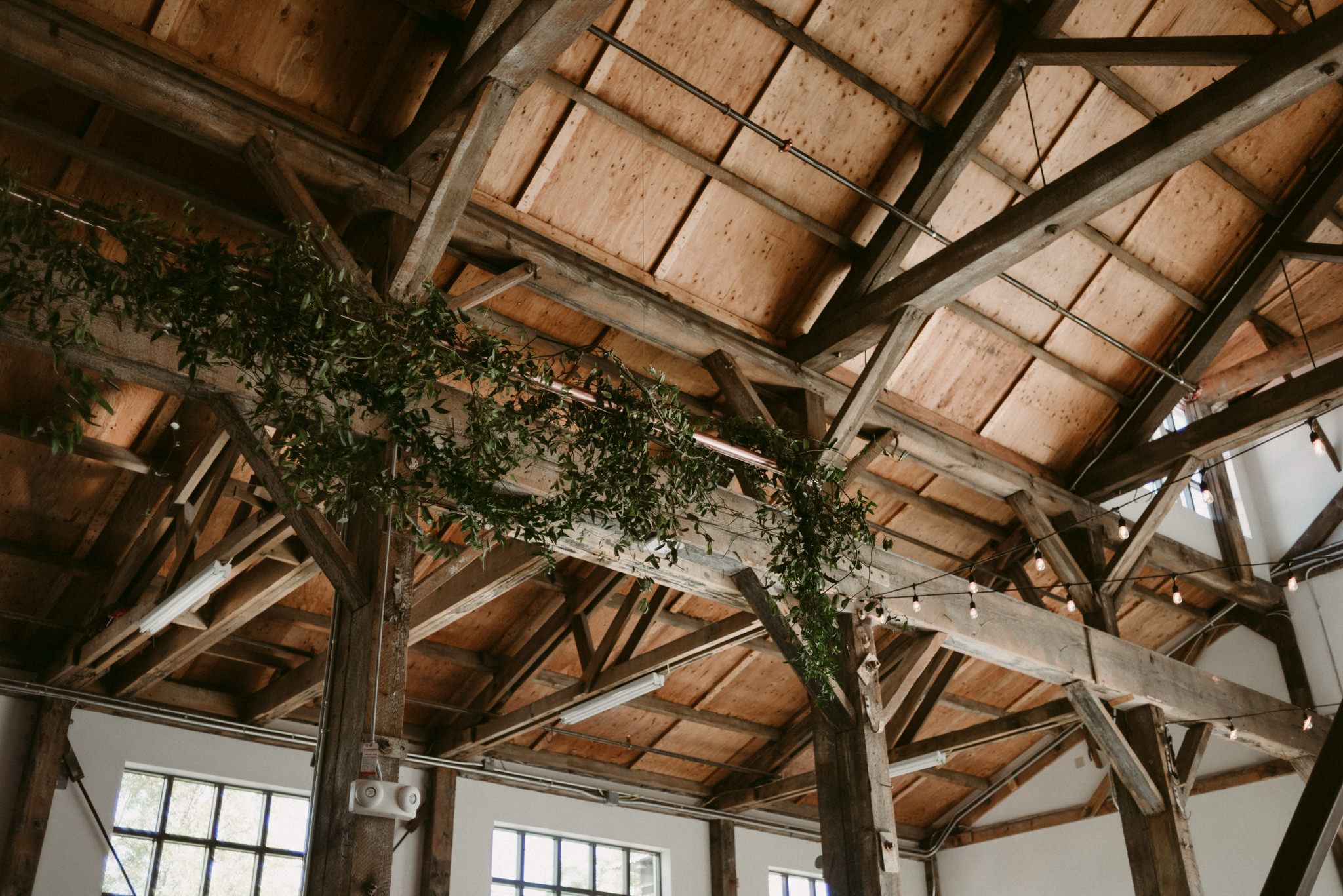 large wood beams and vines