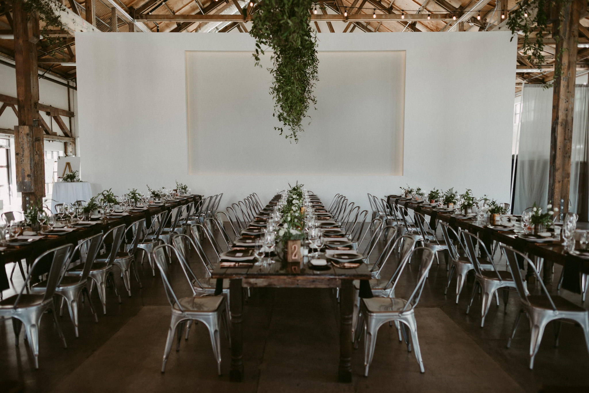 industrial wedding reception table setting